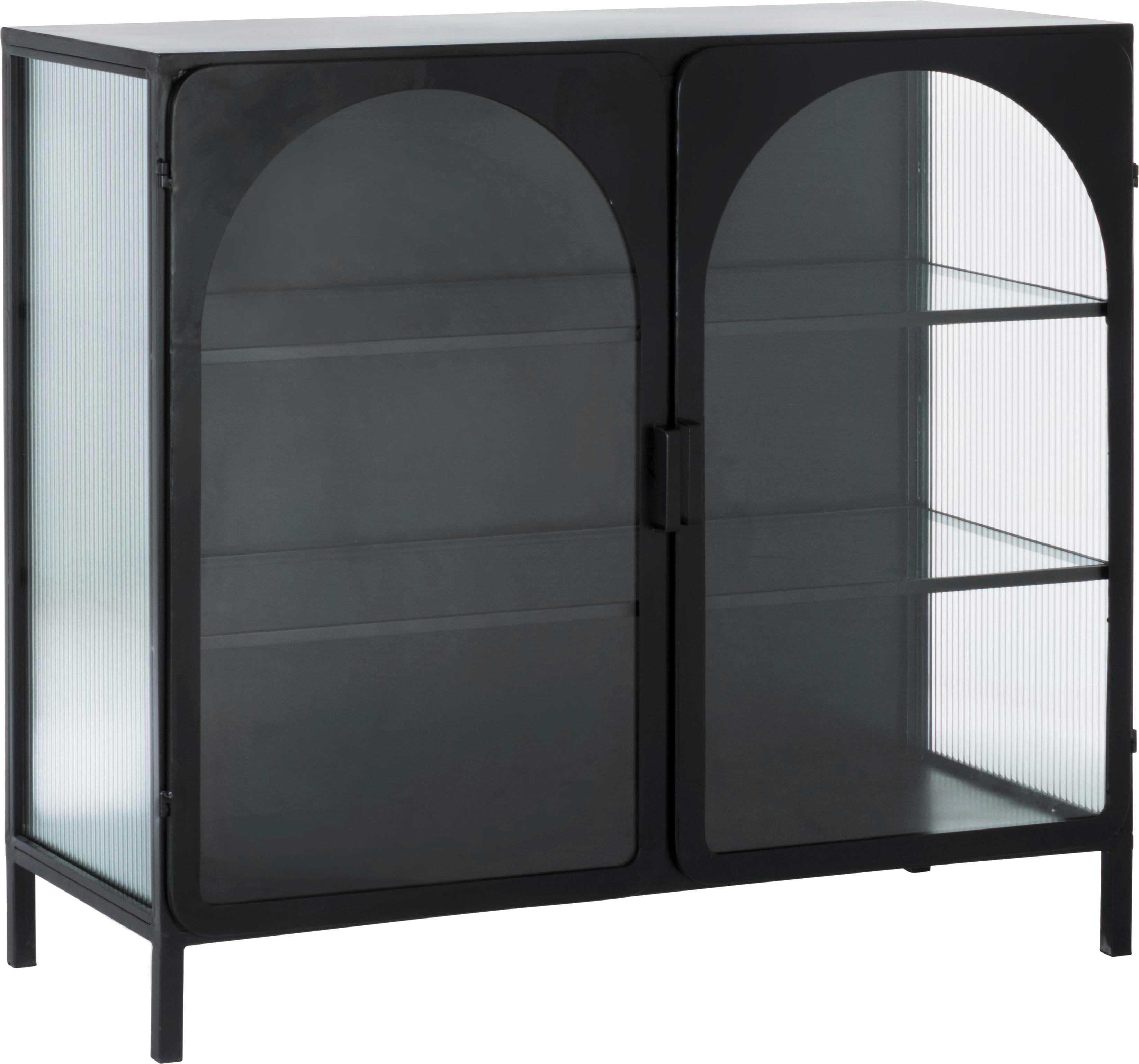 Witryna Nerissa, Stelaż: stal epoksydowana, malowa, Czarny, transparentny, S 111 x G 46 cm