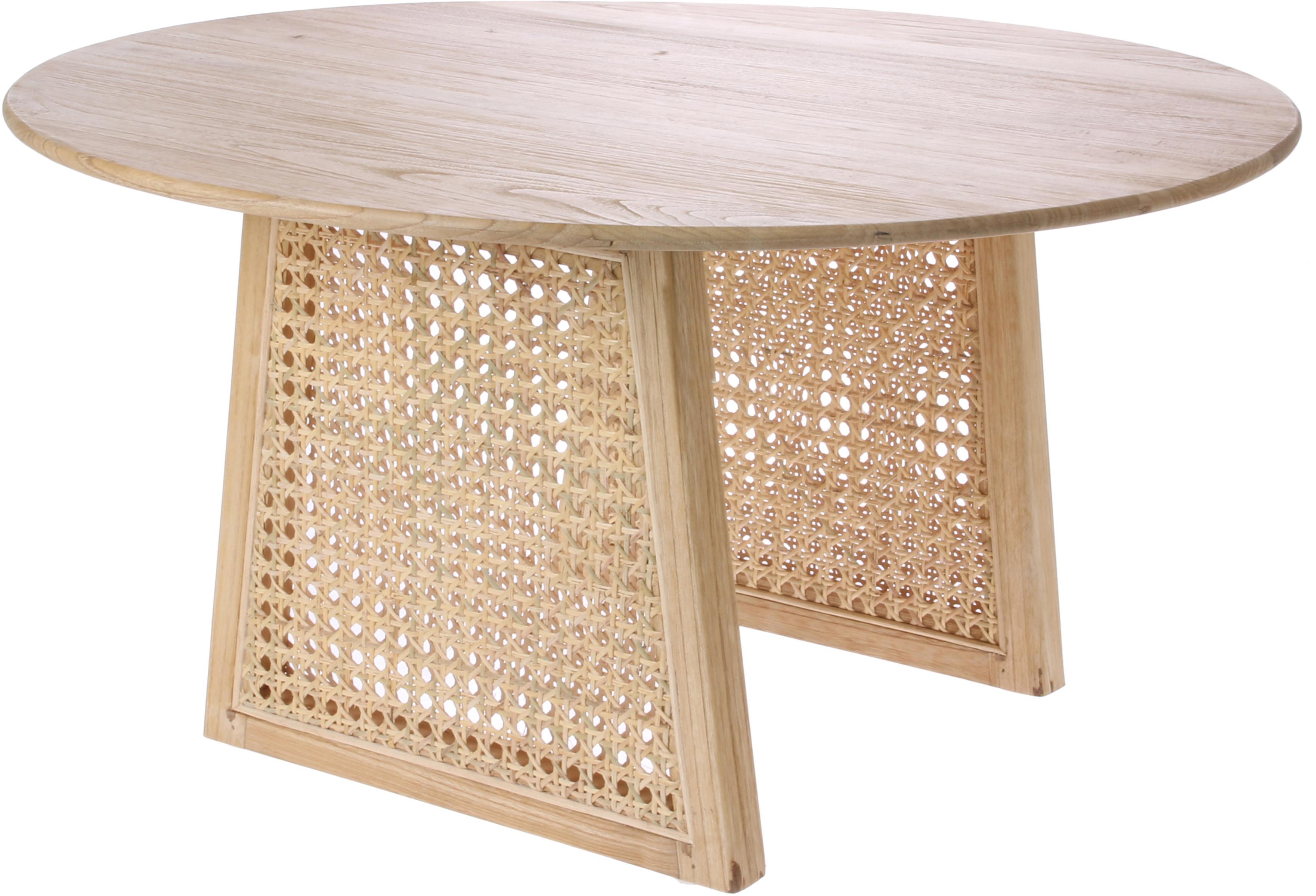 Tavolino da salotto rotondo in vimini Retro, Intreccio viennese: rattan, Legno sunkai, Ø 65 x Alt. 35 cm