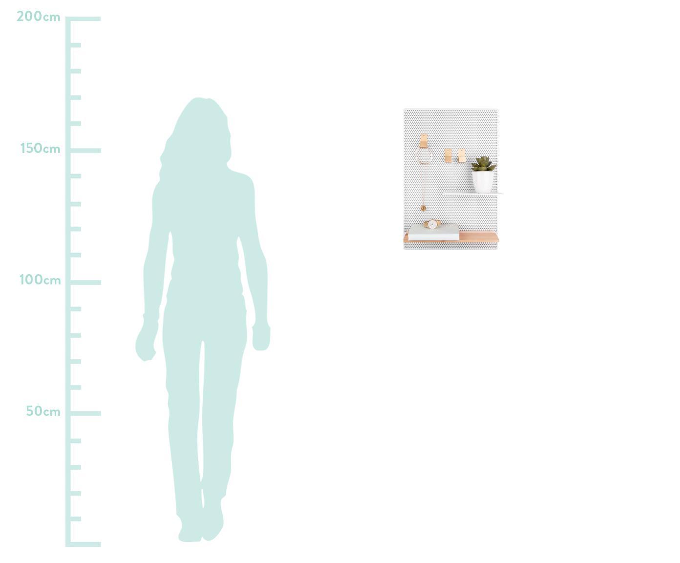 Memobord Perkys, Gelakt metaal, Wit, messingkleurig, 35 x 53 cm