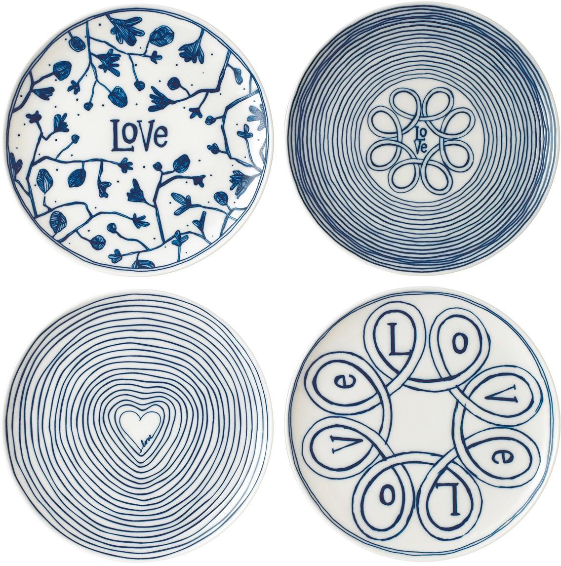 Ontbijtbordenset Love in wit/blauw met patroon, 4-delig, Porselein, Ivoorkleurig, kobaltblauw, Ø 21 cm