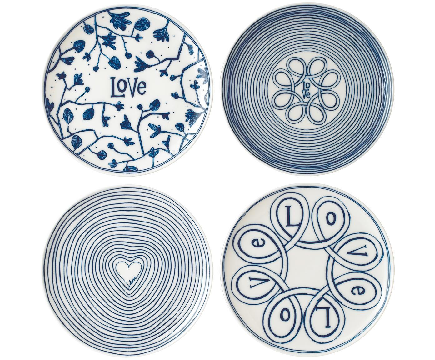 Gemusterte Frühstücksteller Love in Weiß/Blau, 4er-Set, Porzellan, Elfenbein, Kobaltblau, Ø 21 cm
