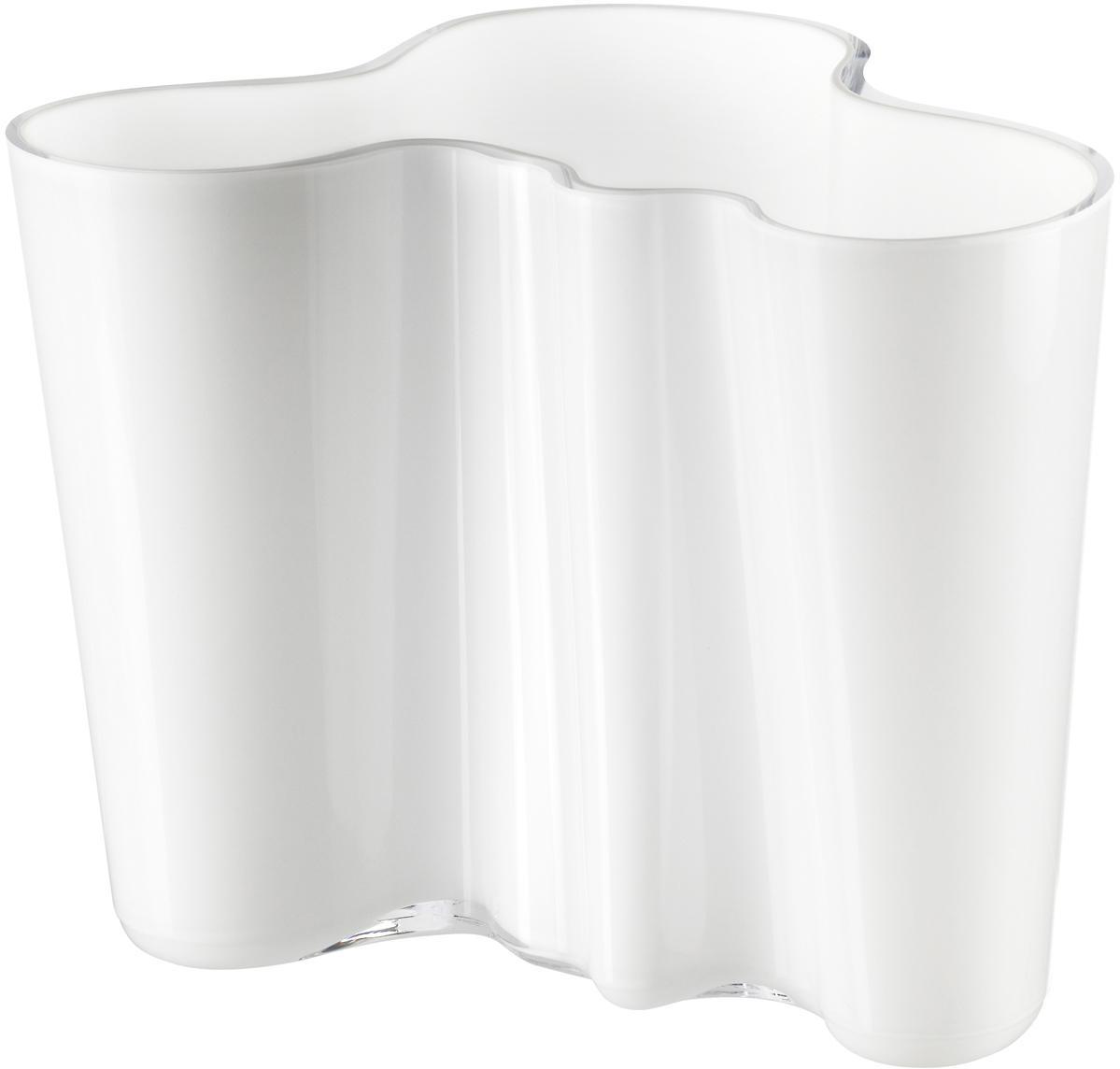Kleine design vaas Alvar Aalto, Glas, Wit, H 16 cm