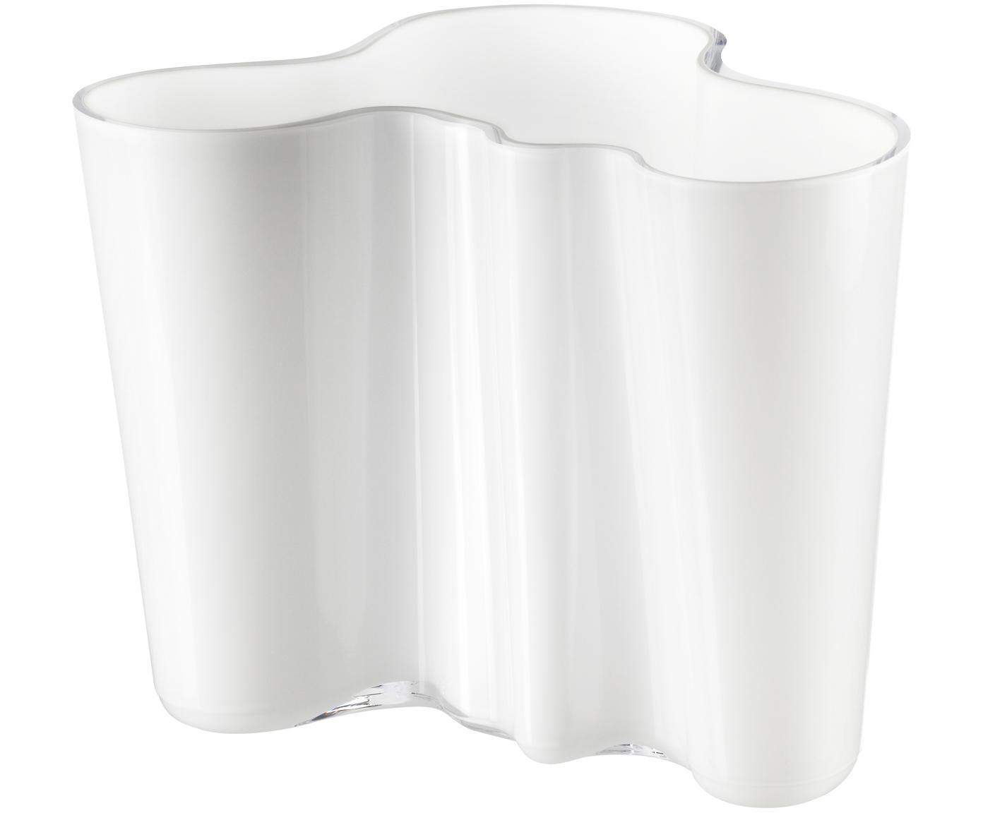 Kleine Design-Vase Alvar Aalto, Glas, Weiß, H 16 cm