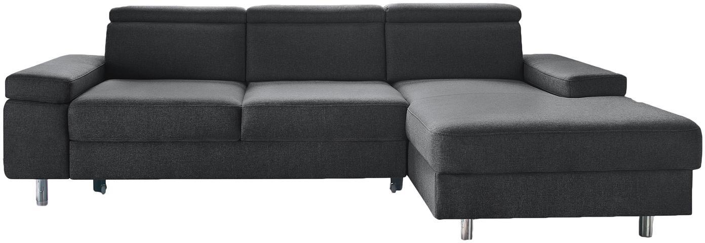 Sofa narożna z funkcją spania Espace, Tapicerka: 100% aksamit poliestrowy, Nogi: metal lakierowany, Ciemny szary, S 257 x G 182 cm
