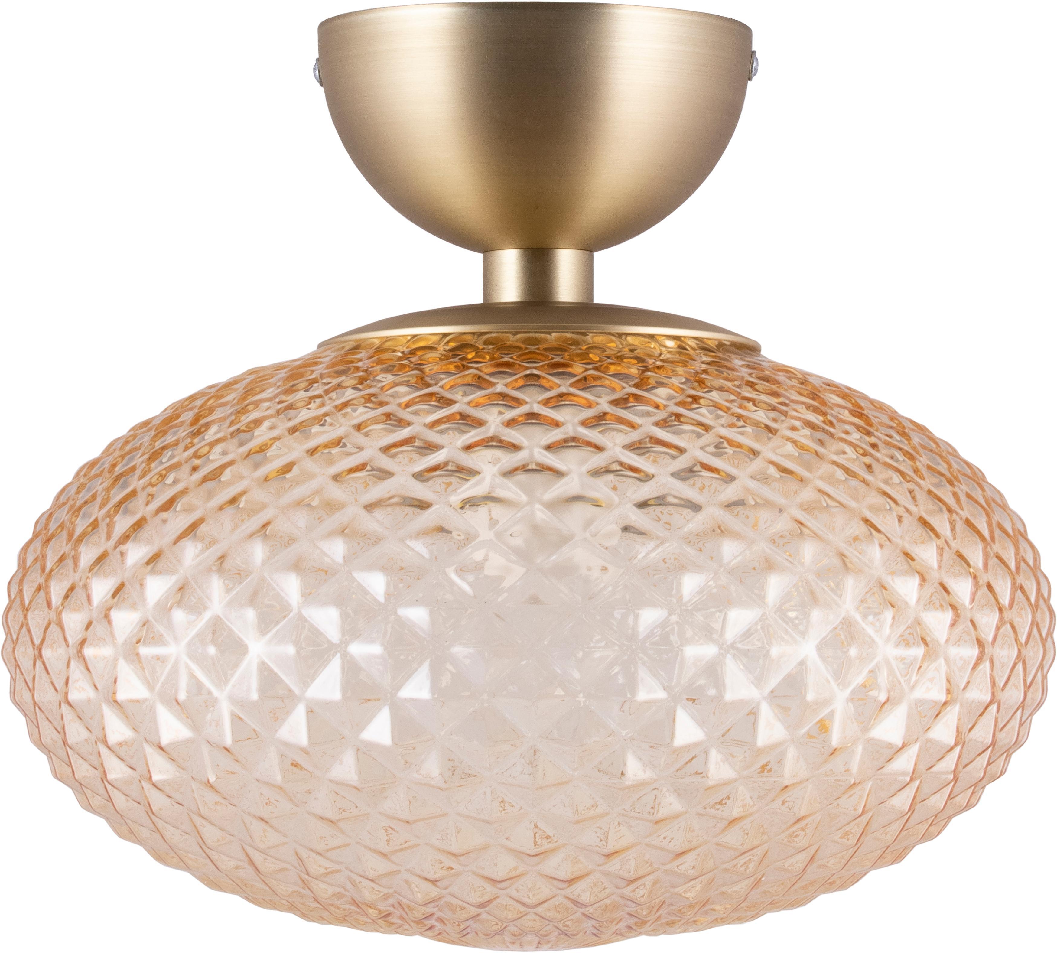 Deckenleuchte Jackson, Lampenschirm: Glas, Bernsteinfarben, Messing, Ø 28 x H 25 cm