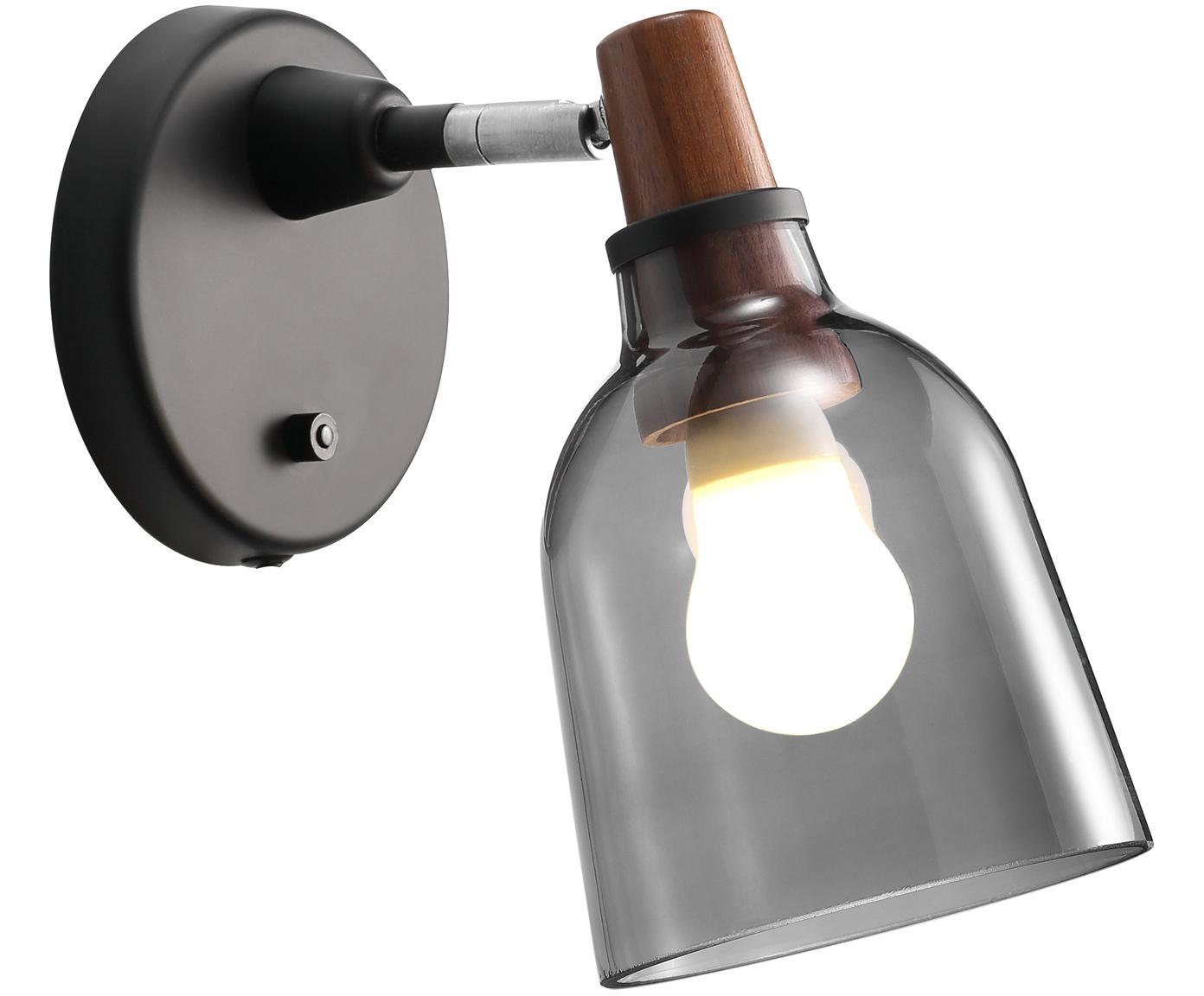 Wandleuchte Karma mit Stecker, Lampenschirm: Handgegossenes Rauchglas, Lampenschirm: Rauchgrau<br>Befestigung: Walnussholz, geölt, 14 x 24 cm