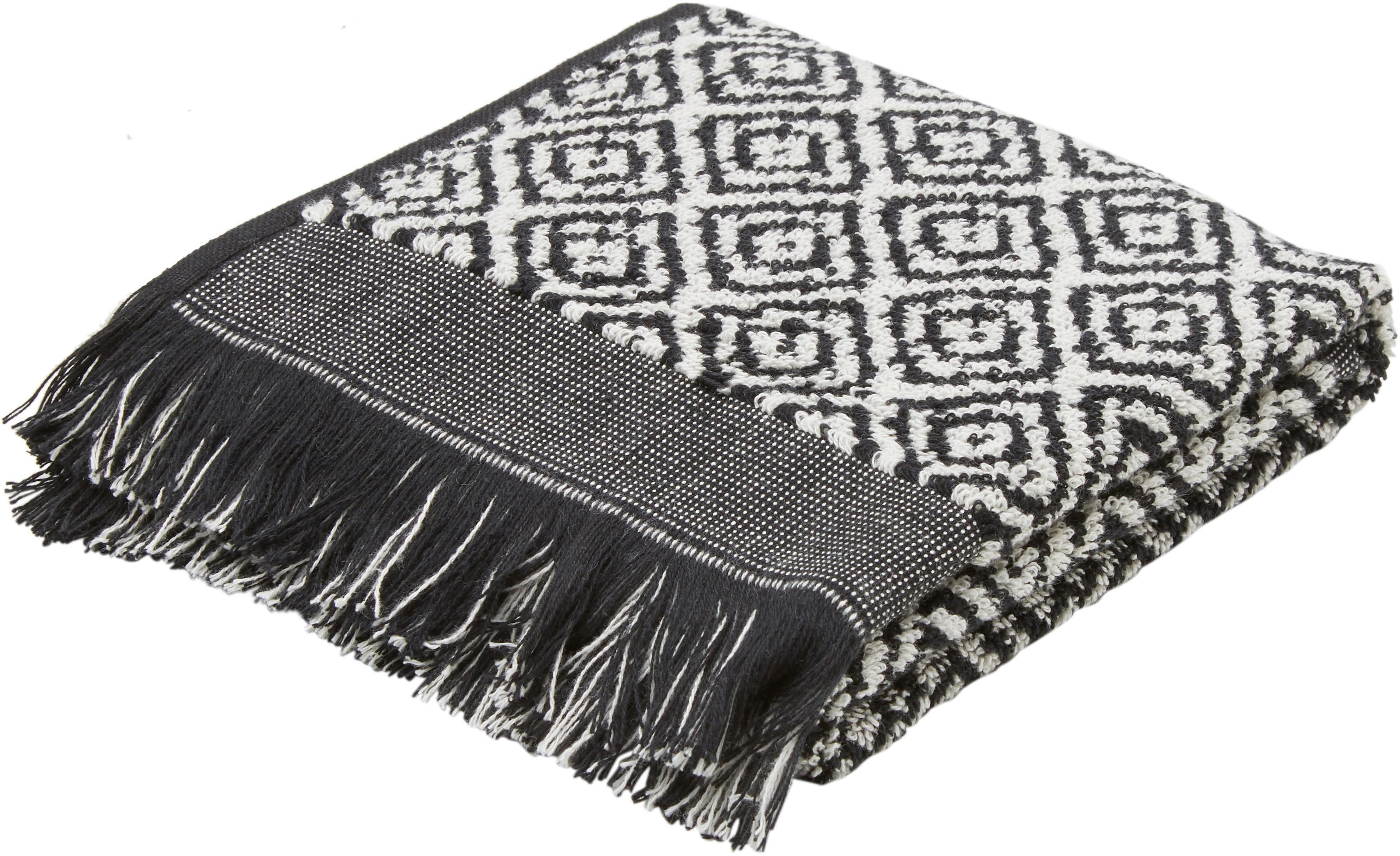 Handdoek Morocco met ruitjesmotief, Katoen, middelzware kwaliteit, 500 g/m², Zwart, wit, Gastendoekje