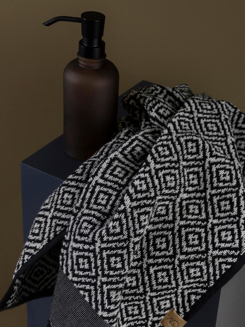 Handtuch Morocco in verschiedenen Grössen, mit Rautenmuster, Schwarz, Weiss, Gästehandtuch