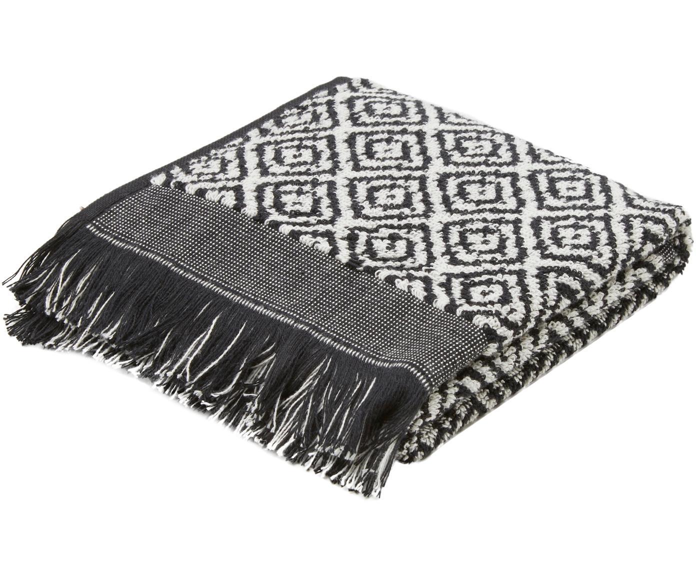 Handtuch Morocco mit Rautenmuster, Schwarz, Weiß, Gästehandtuch