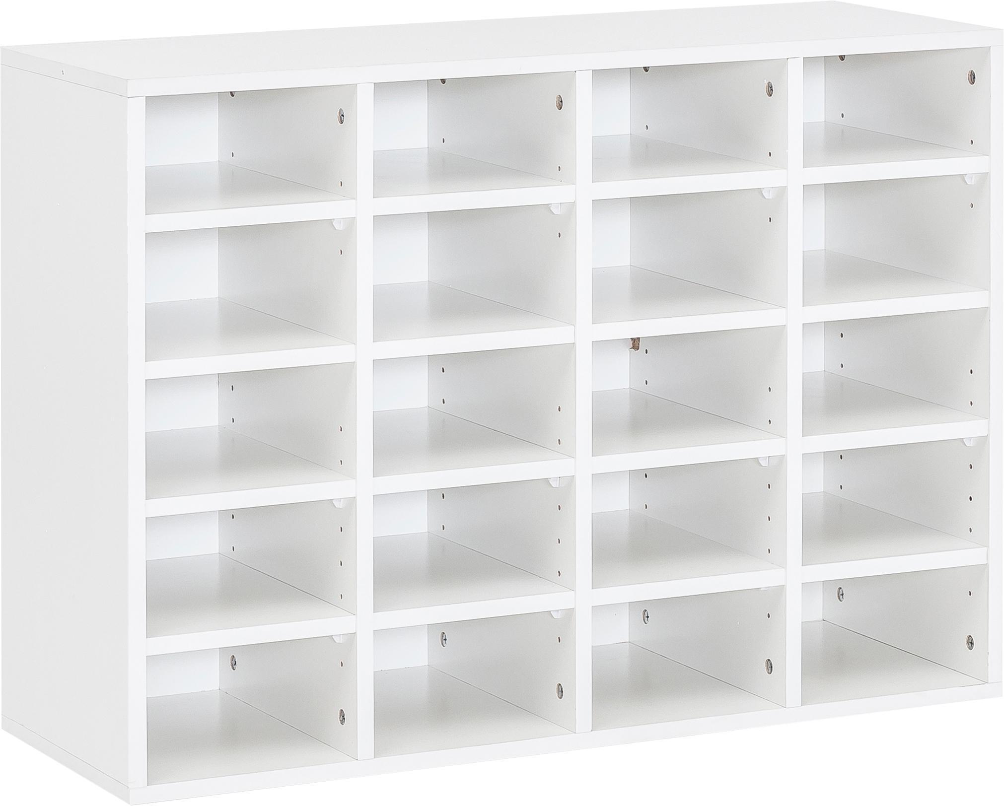 Zapatero Diego, 20 compartimentos, Aglomerado recubierto de melamina, Blanco, An 91 x Al 67 cm