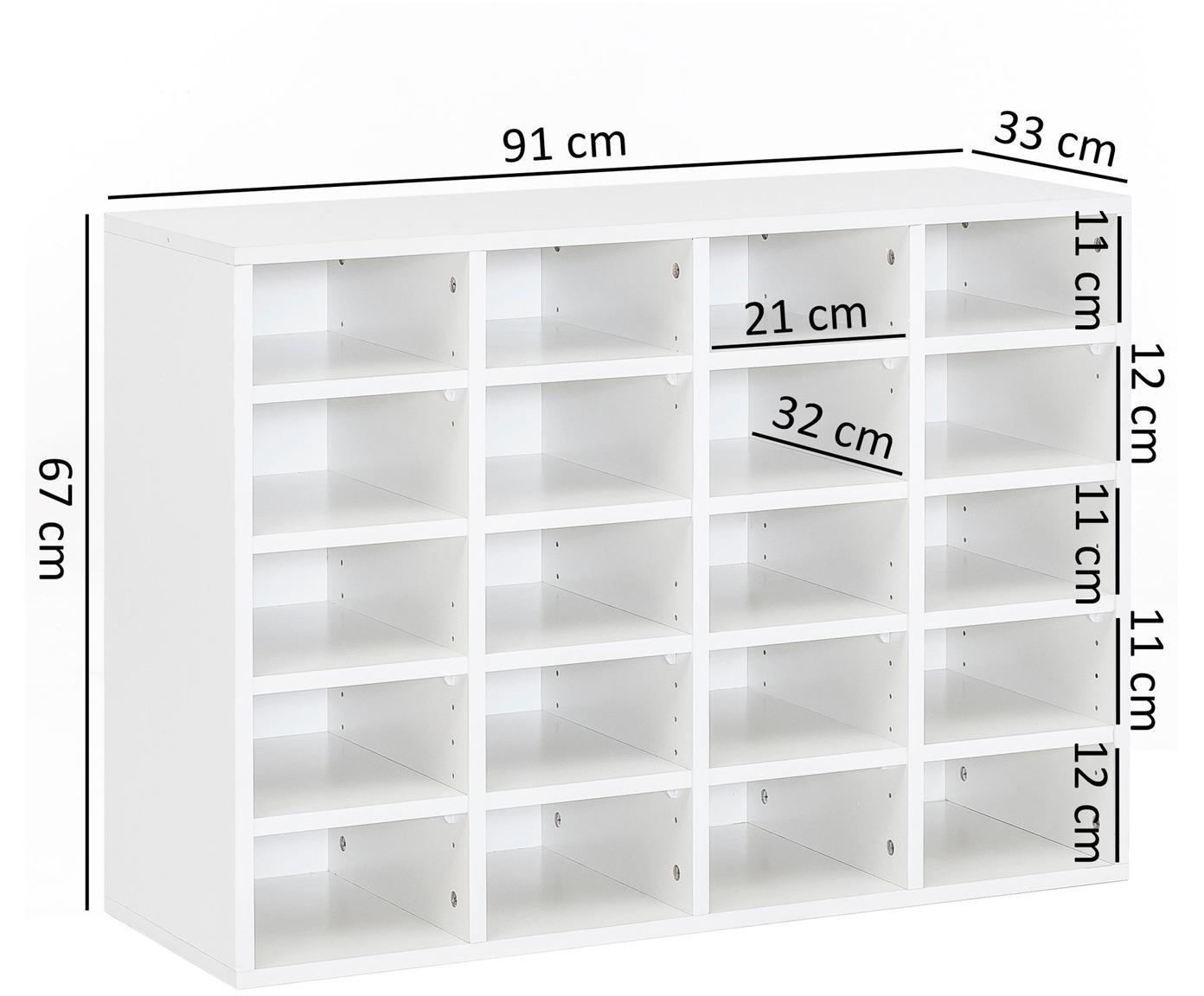 Scarpiera con 20 scomparti Diego, Truciolato, melaminico, Bianco, Larg. 91 x Alt. 67 cm