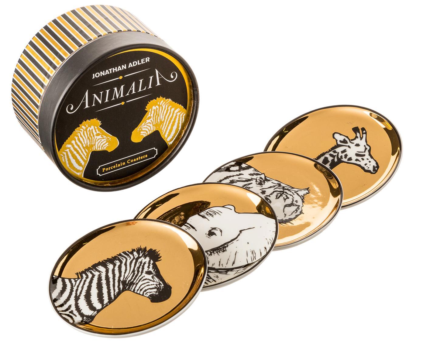 Set de posavasos Animalia, 4pzas., Porcelana, Dorado, negro, blanco, Ø 10 cm