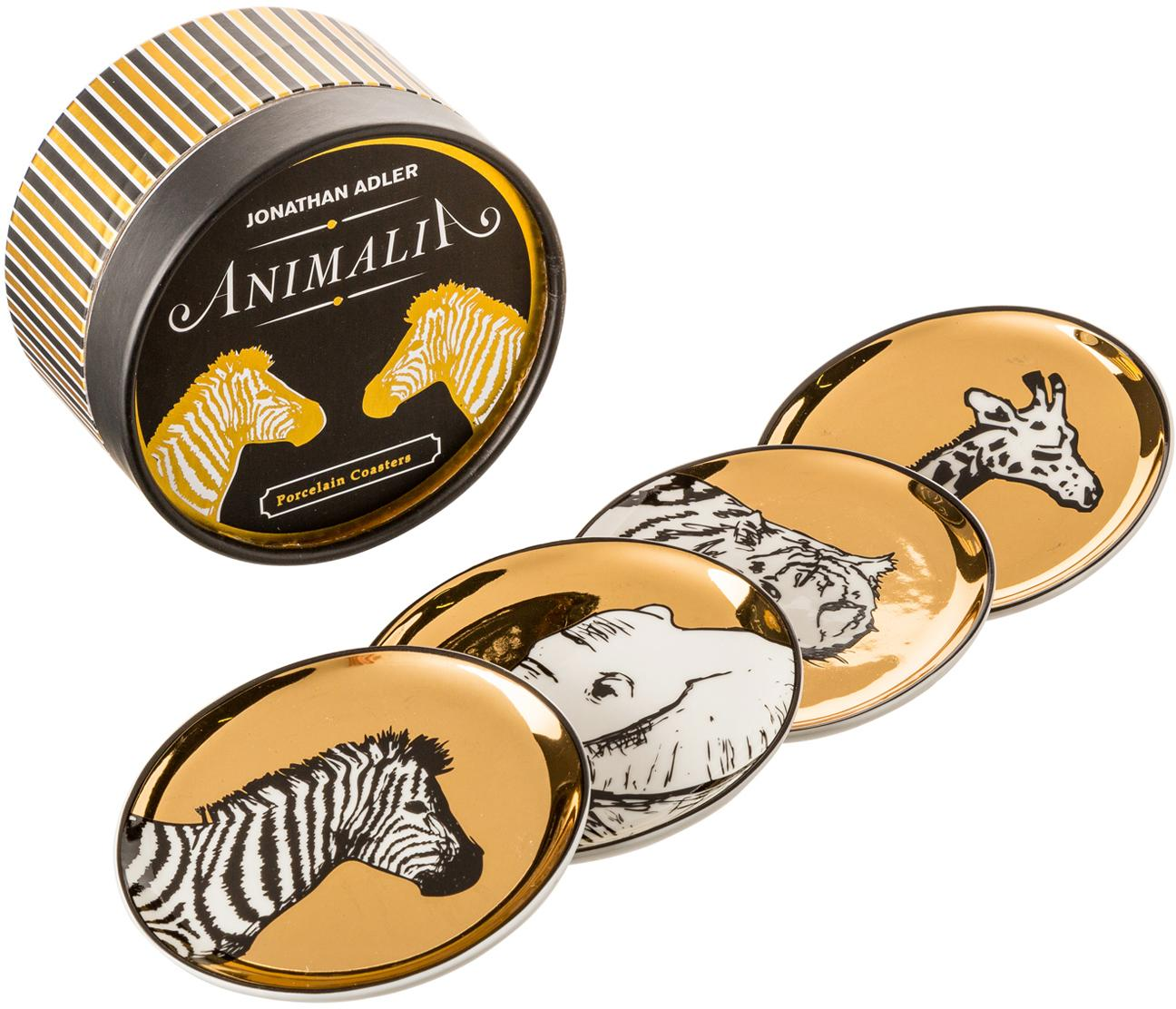 Set sottobicchieri Animalia, 4 pz., Porcellana, Oro,nero,bianco, Ø 10 cm