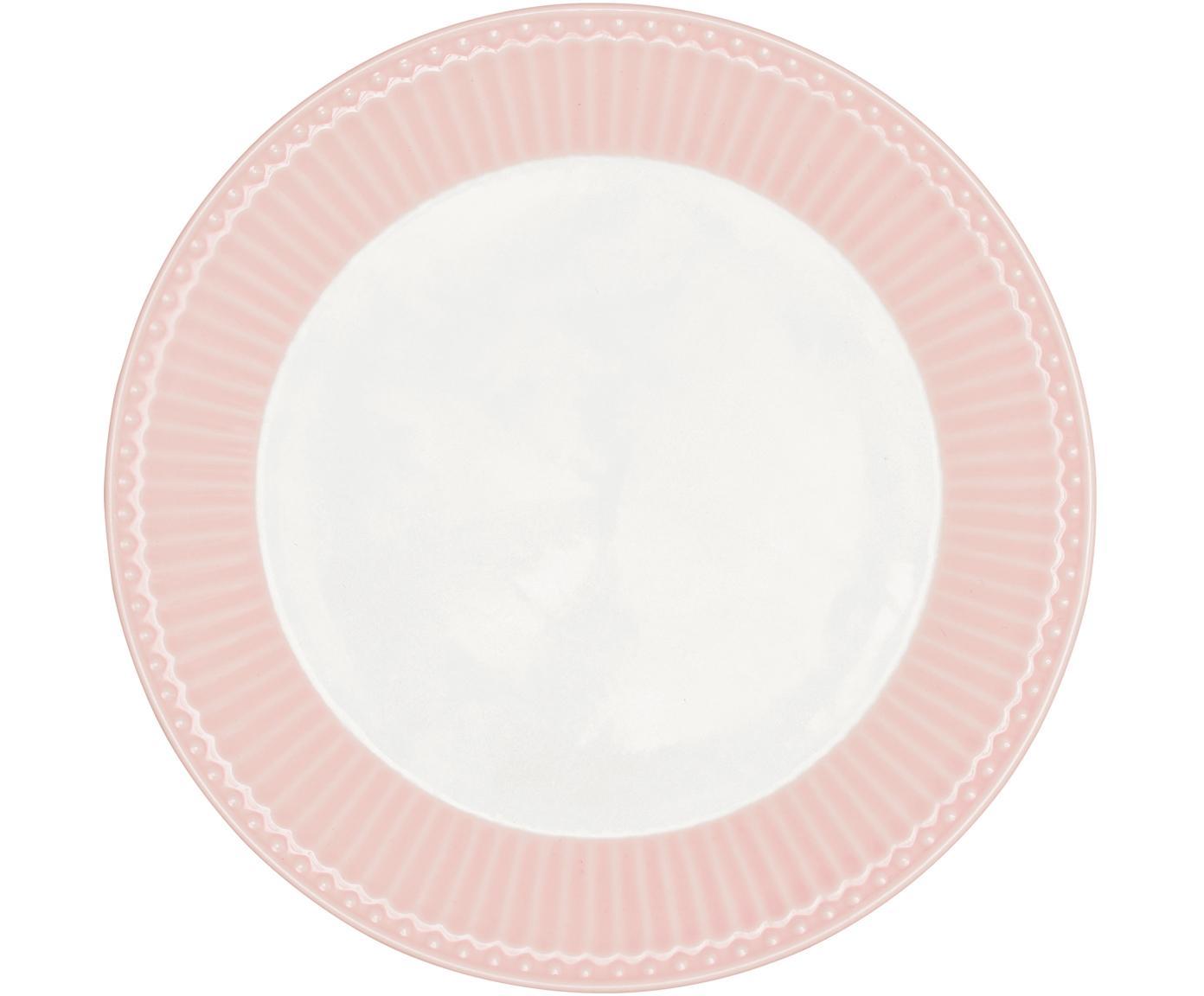 Handgefertigte Frühstücksteller Alice in Rosa mit Reliefdesign, 2 Stück, Steingut, Rosa, Weiß, Ø 23 cm