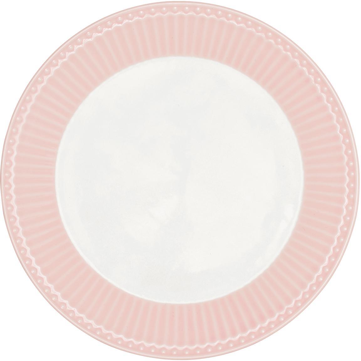 Piattino da dessert Alice 2 pz, Porcellana, Rosa, bianco, Ø 23 cm