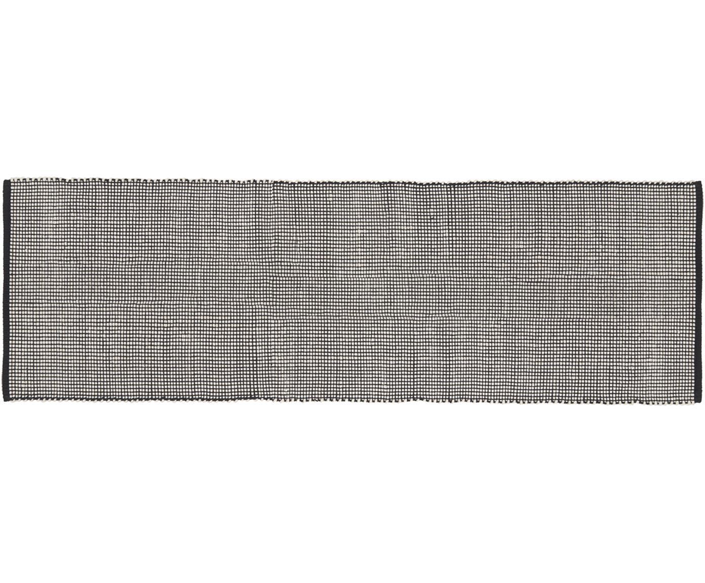 Handgewebter Wollläufer Amaro in Schwarz/Creme, 38% Wolle, 22% Polyester, 20% Baumwolle, 20% Polyamid, Schwarz, Cremeweiss, 80 x 250 cm