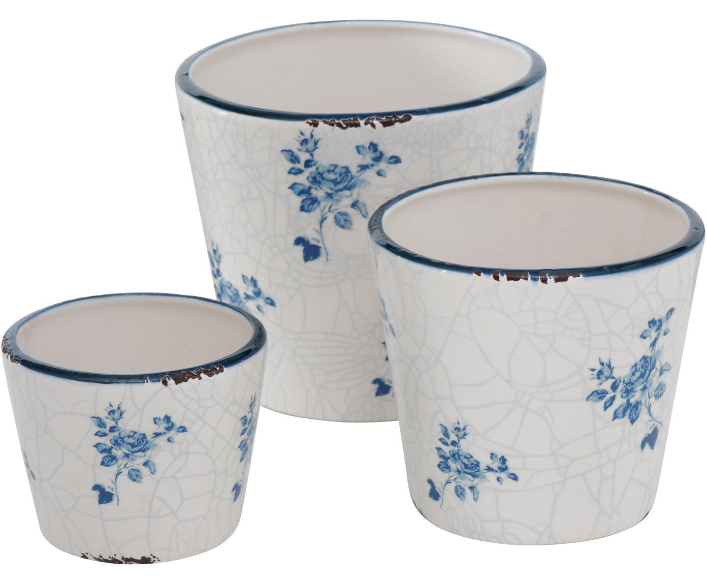 Set 3 portavasi in terracotta Marie, Terracotta, Bianco, Diverse dimensioni