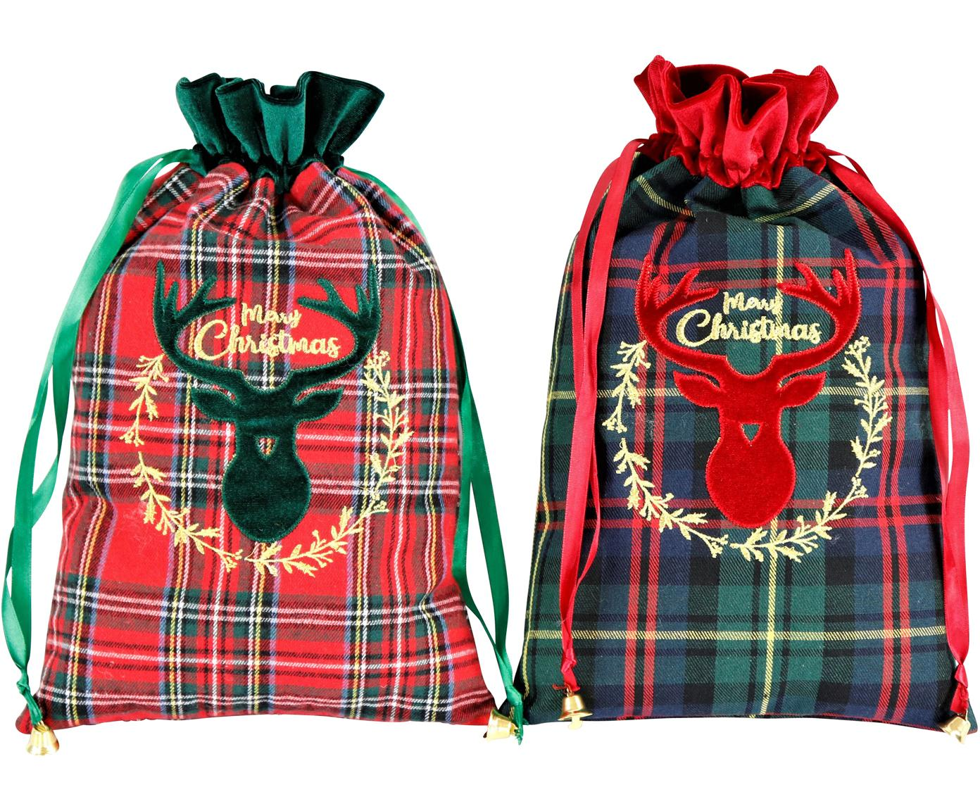 Set 2 oggetti decorativi Merry Christmas, Poliestere, cotone, Verde, rosso, nero, Larg. 22 x Lung. 35 cm