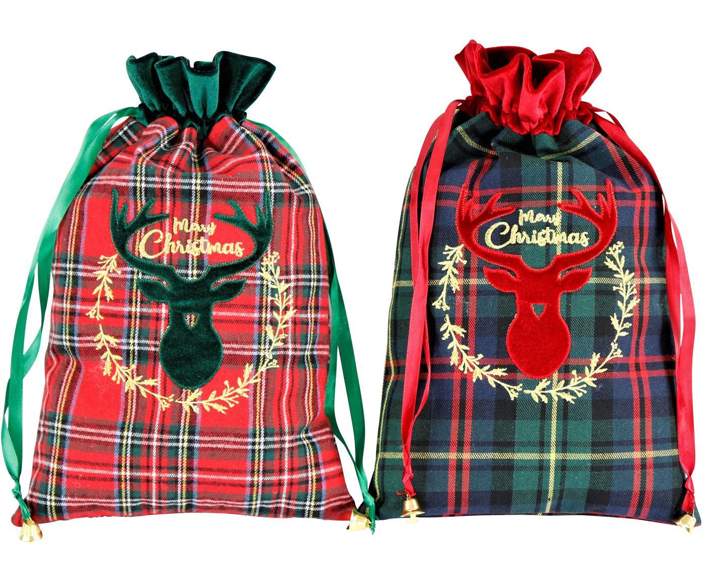 Set de calcetines decorativos Merry Christmas, 2pzas., Poliéster, algodón, Verde, rojo, negro, An 22 x L 35 cm