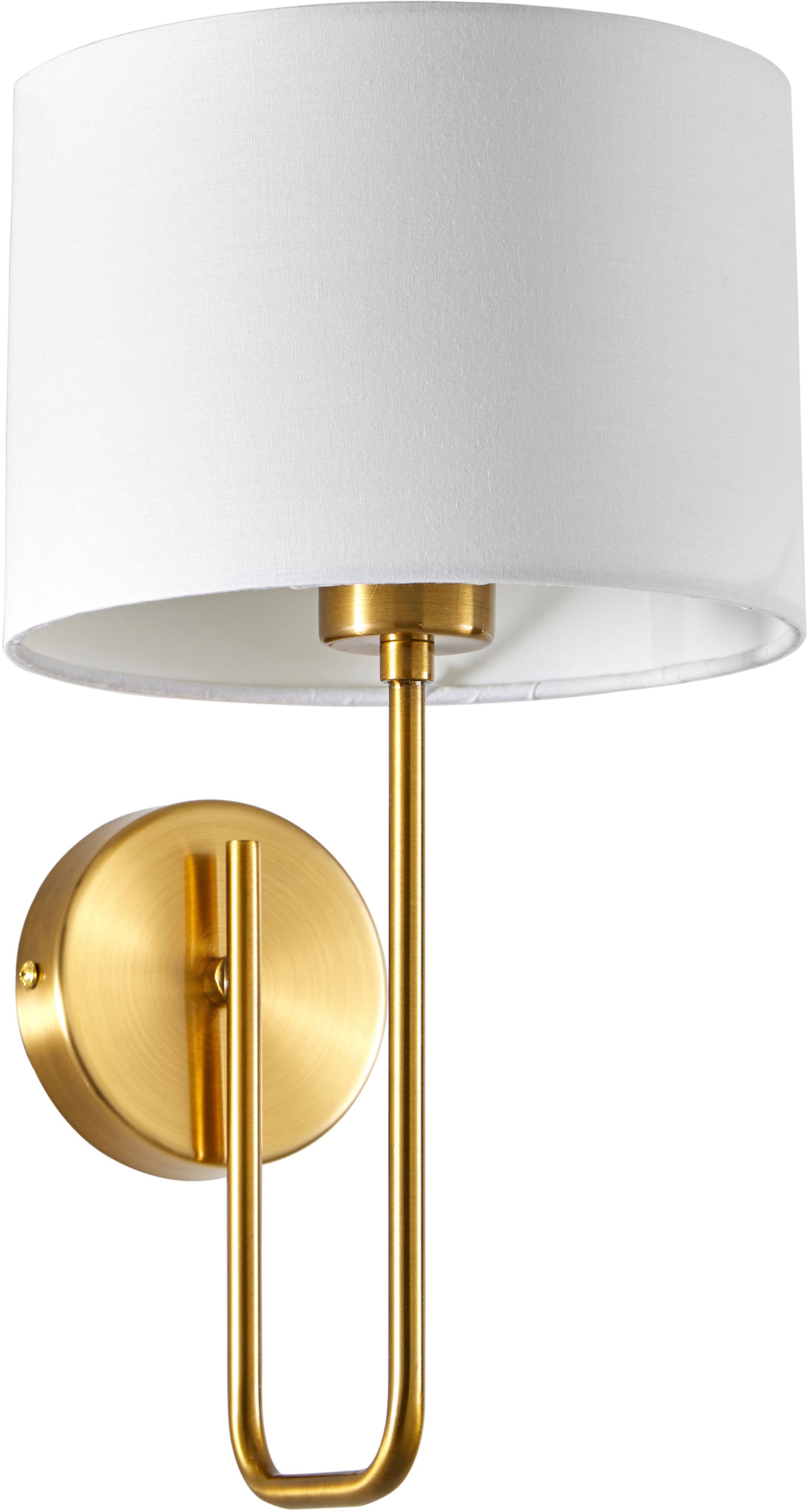 Wandleuchte Montreal, Lampenschirm: Textil, Weiß, Goldfarben, Ø 20 x H 36 cm