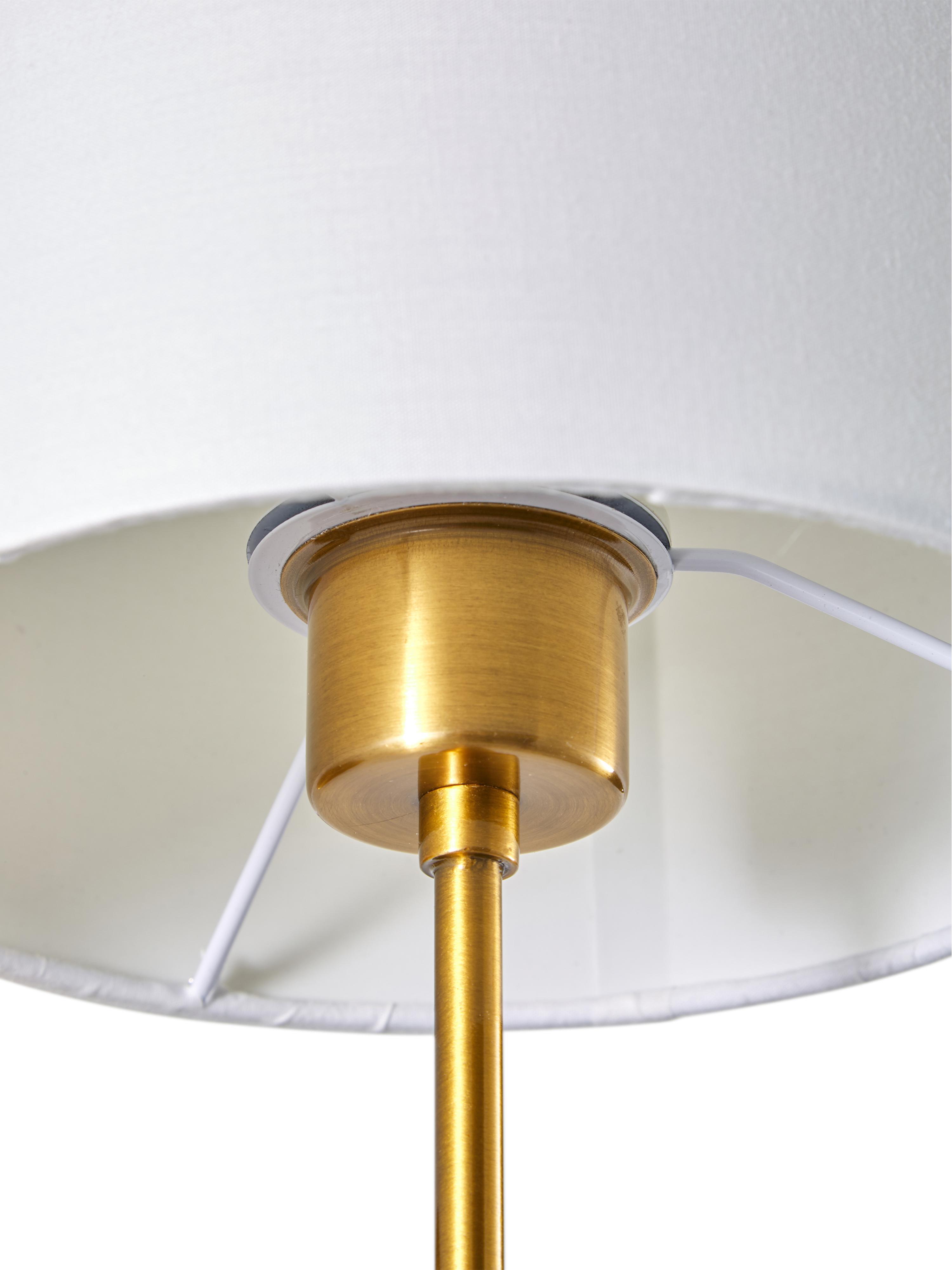 Applique Montreal, Paralume: tessuto, Struttura: metallo zincato, Bianco, dorato, Ø 20 x Alt. 36 cm