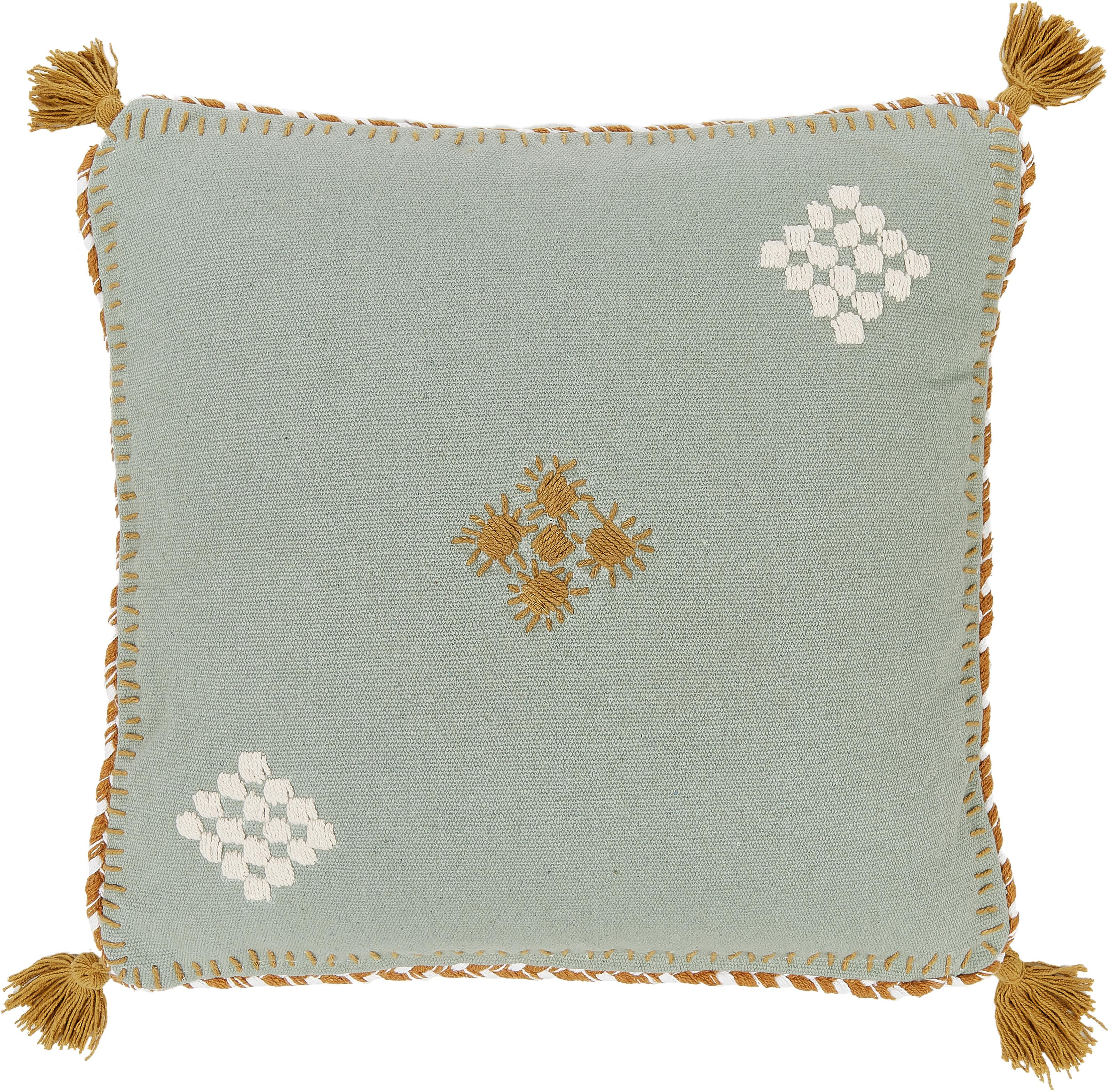 Kissenhülle Kelti mit Stickerei, 100% Baumwolle, Grün, Ockergelb, 45 x 45 cm