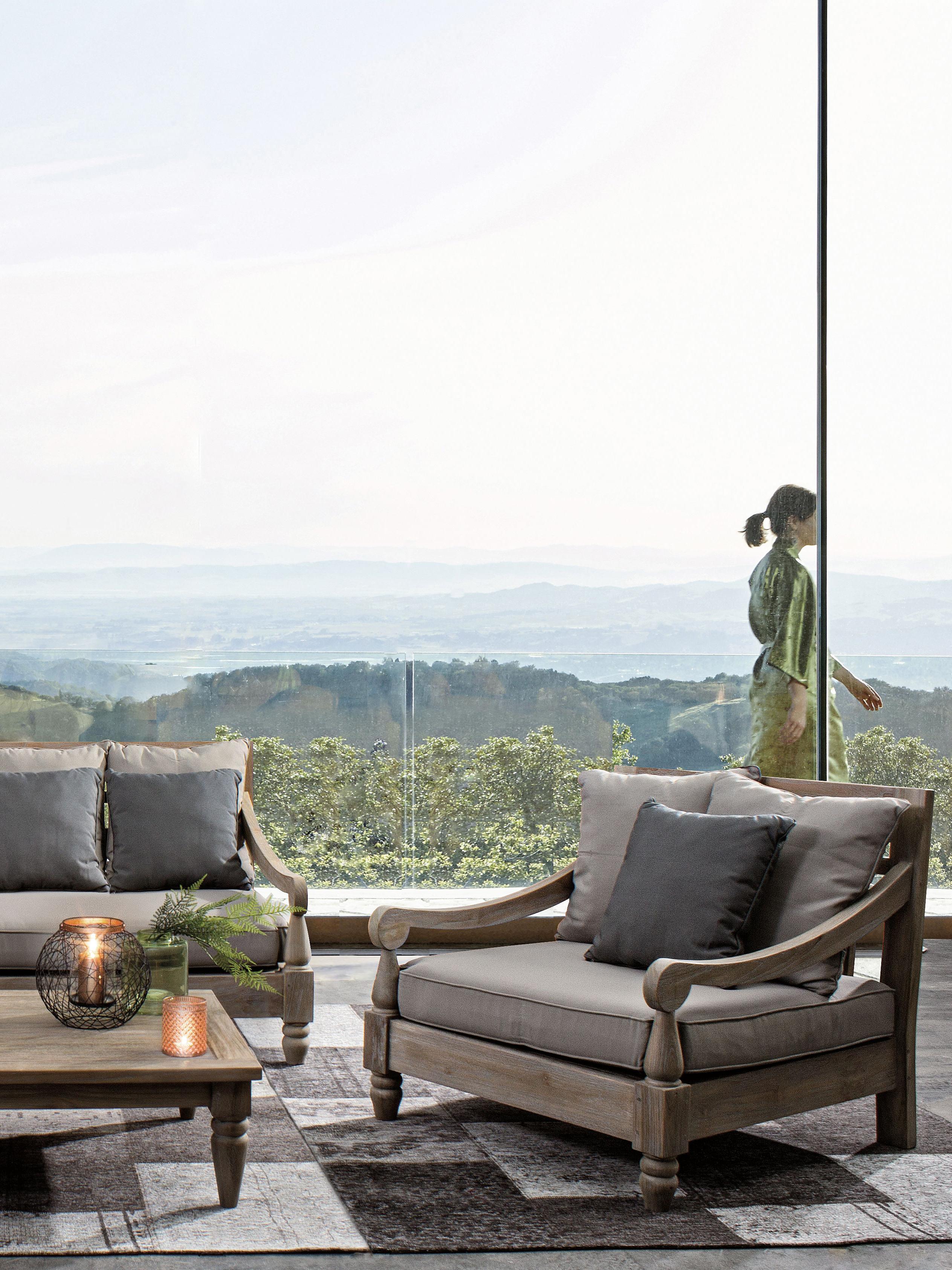Garten-Loungesessel Bali aus Teakholz, Rahmen: Teakholz, Rot, B 90 x T 90 cm