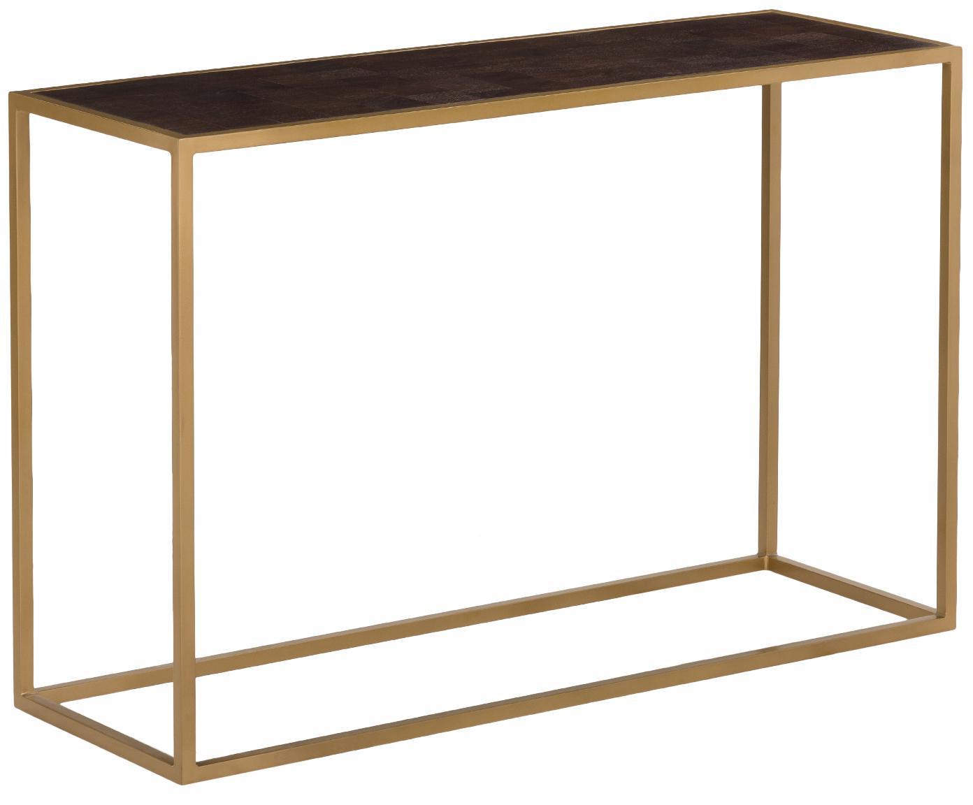 Sidetable James met goudkleurige frame, Tafelblad: gelakt massief mangohout, Frame: gepoedercoat metaal, Tafelblad: donker gelakt mangohout. Frame: mat goudkleurig, 120 x 78 cm