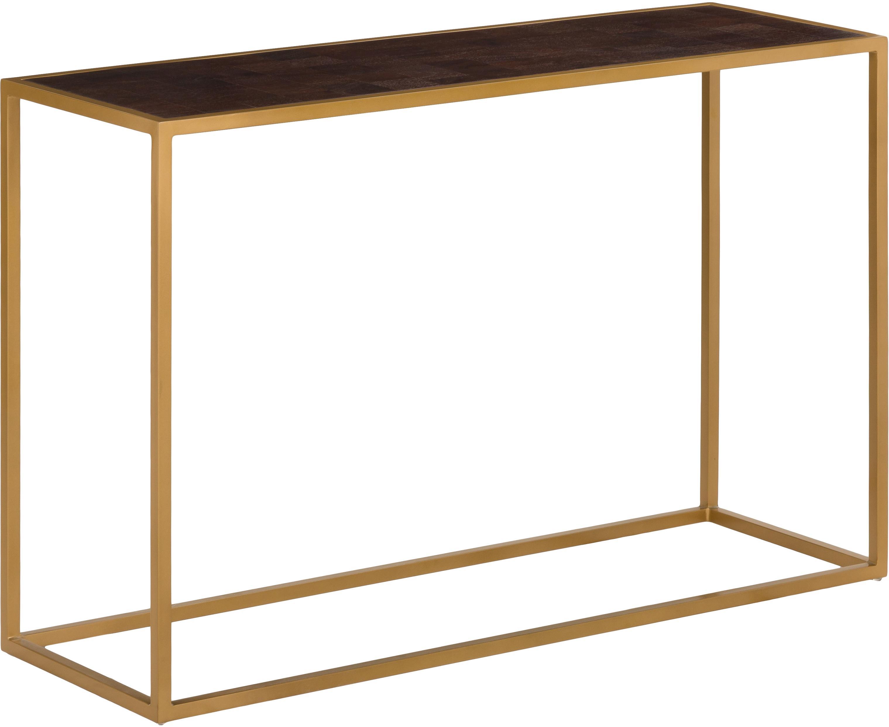 Sidetable James met goudkleurige frame, Tafelblad: gelakt massief mangohout, Frame: gepoedercoat metaal, Tafelblad: donker gelakt mangohout. Frame: mat goudkleurig, B 120 x D 40 cm