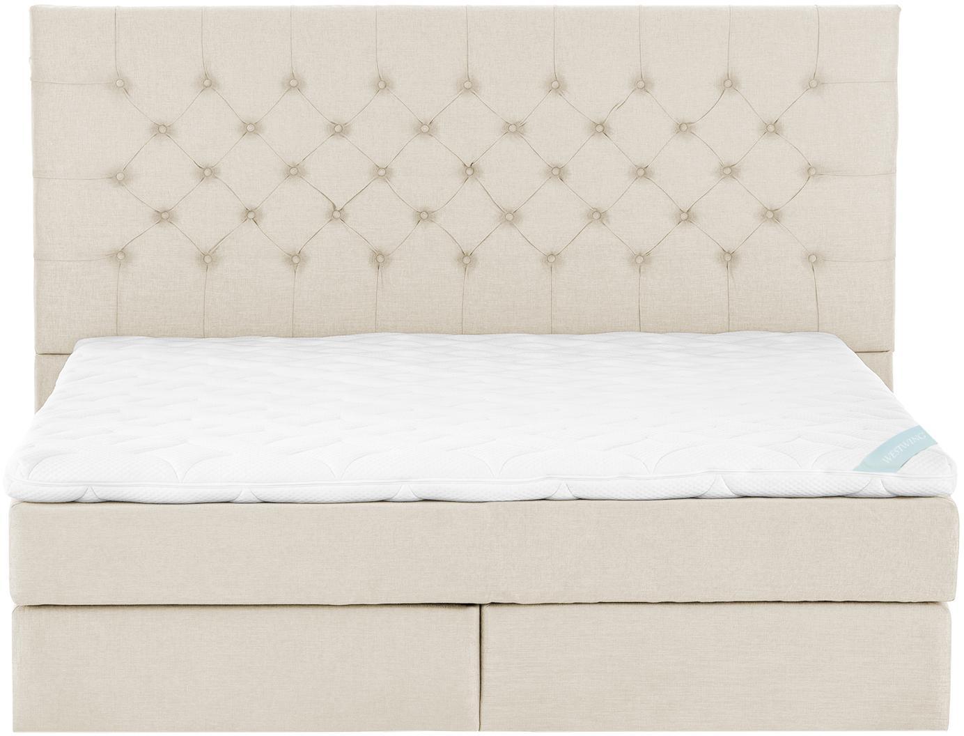 Premium Boxspringbett Phoebe, Matratze: 7-Zonen-Taschenfederkern , Füße: Massives Buchenholz, lack, Beige, 180 x 200 cm