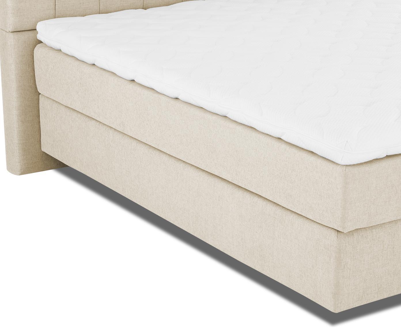 Premium boxspring bed Phoebe, Matras: 7-zones-pocketveringkern , Poten: massief gelakt beukenhout, Beige, 180 x 200 cm