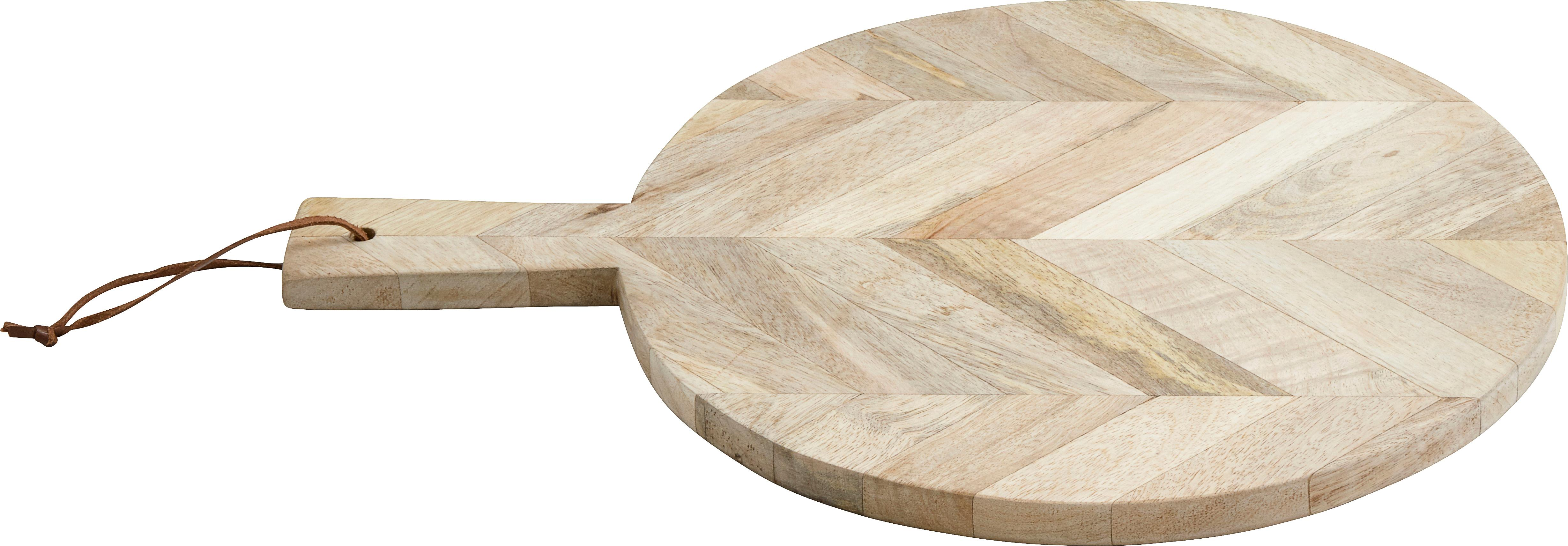 Schneidebrett Herringbone, Mangoholz, Leder, Mangoholz, Ø 32 x T 43 cm