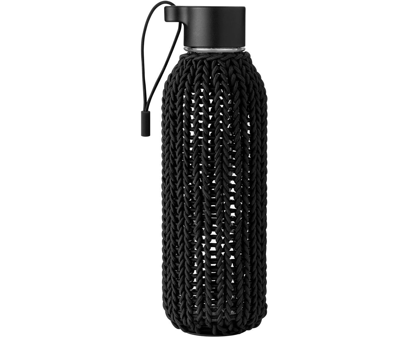 Botella Catch-It, Botella: Tritan, polipropileno., Funda: cordón de caucho recubier, Negro, transparente, 600 ml