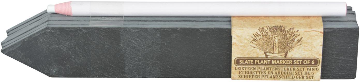 Pflanzschilder-Set Ala, 7-tlg., Schiefer, Anthrazit, 4 x 20 cm