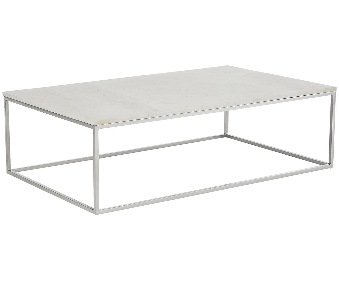 Marmor-Couchtisch Alys, Tischplatte: Marmor Naturstein, Gestell: Metall, pulverbeschichtet, Weißer Marmor, Silberfarben, B 120 x T 75 cm