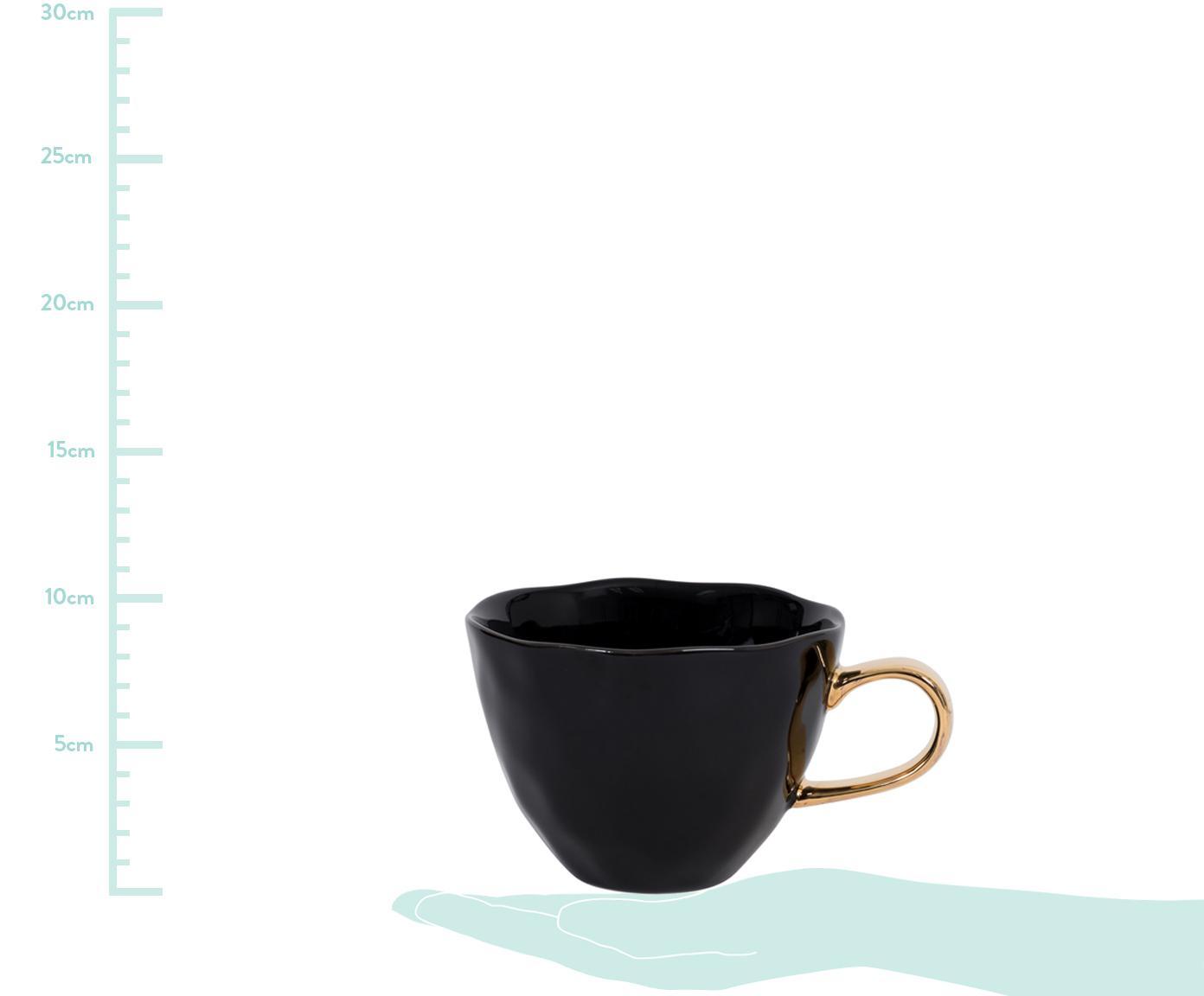 Tasse Good Morning in Schwarz mit goldenem Griff, Steingut, Schwarz, Goldfarben, Ø 11 x H 8 cm