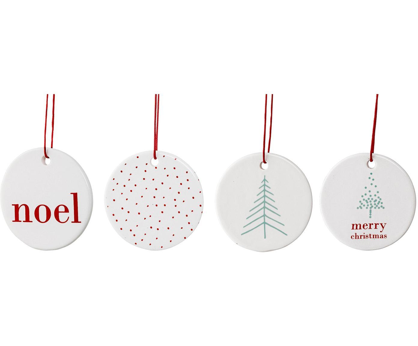 Boomhangersset Christmas Days, 4-delig, Porselein, Wit. Opdruk: rood, mint, Ø 6 cm