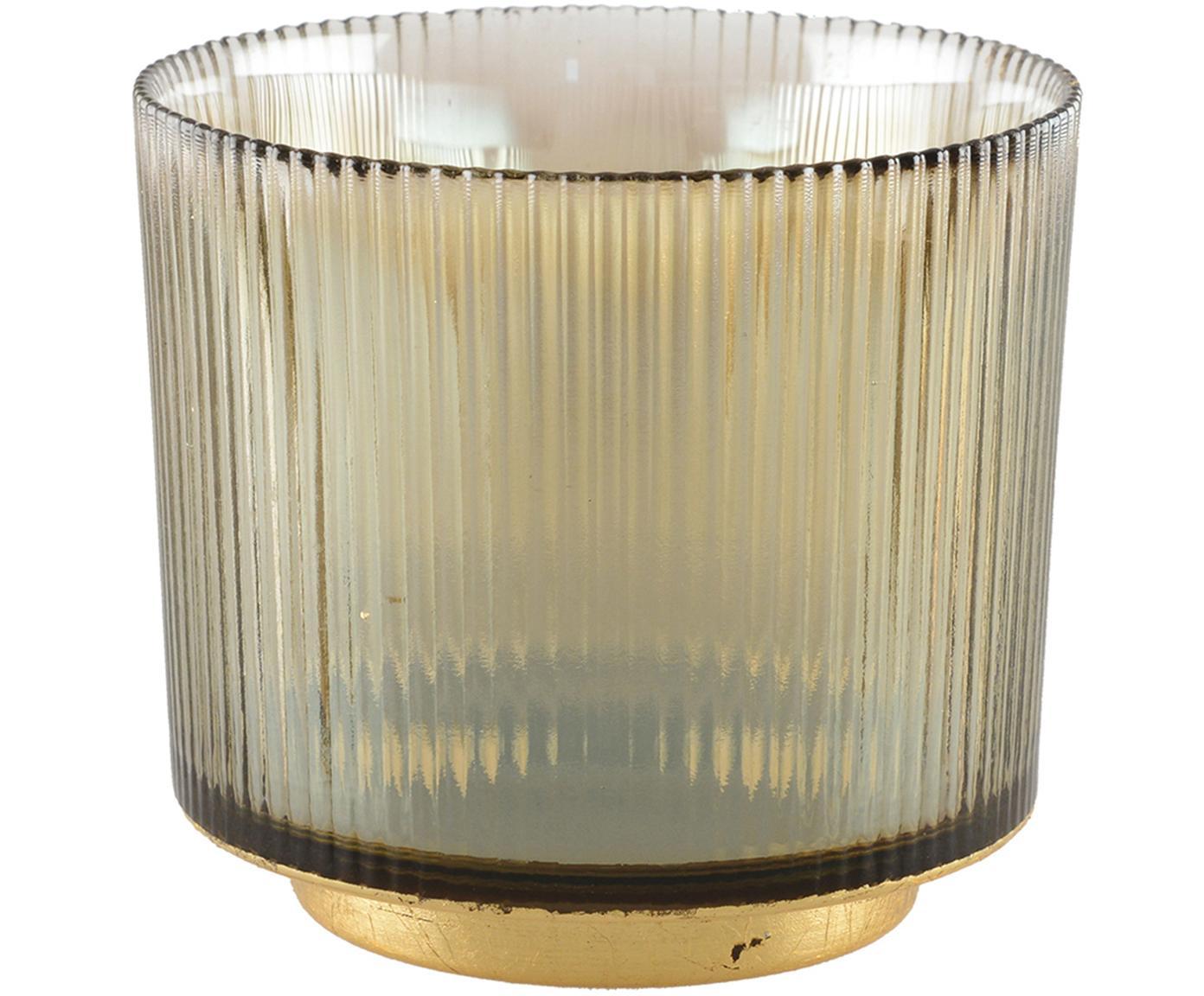 Waxinelichthouder Luster, Glas, metaal, Bruin, transparant, goudkleurig, Ø 10 cm