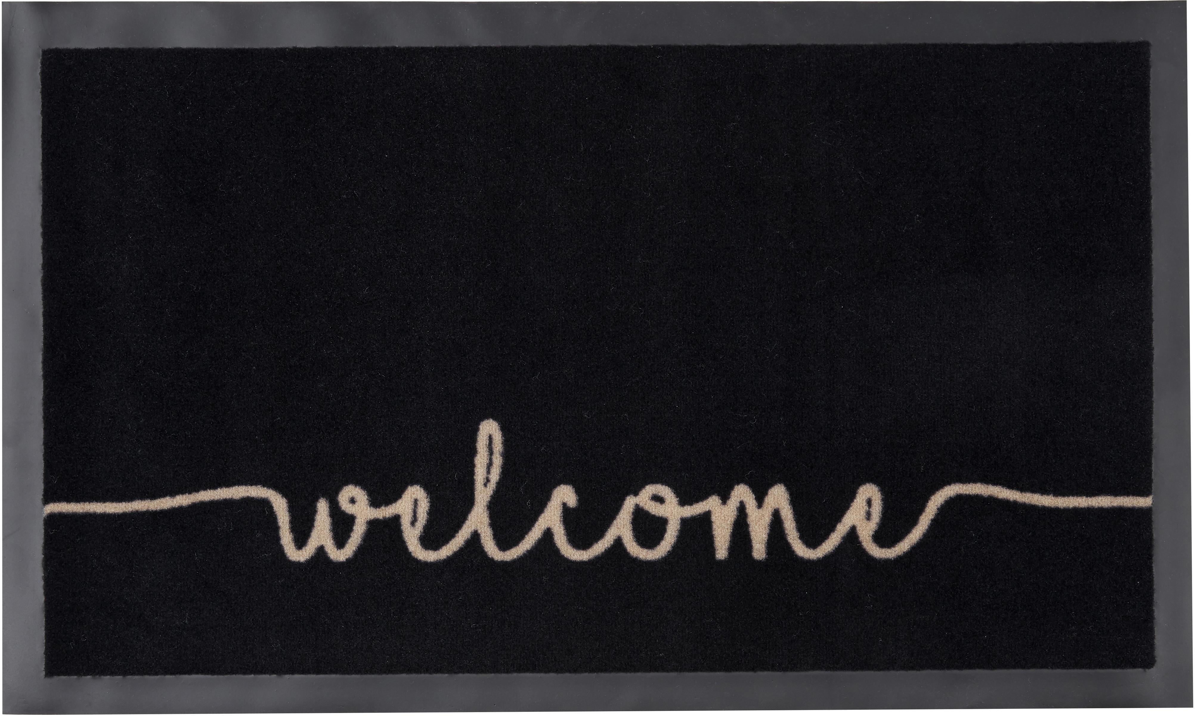 Polyamide deurmat Welcome, Bovenzijde: polyamide, Onderzijde: rubber, Zwart, beige, 45 x 75 cm