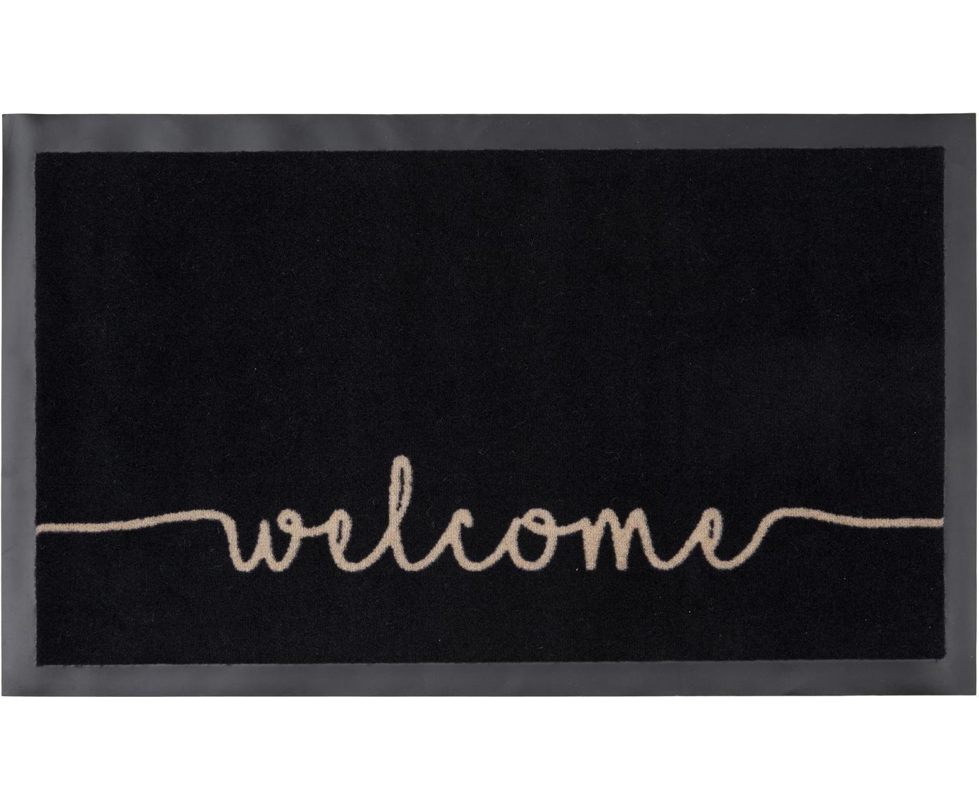 Felpudo de poliamida Welcome, Parte superior: poliamida, Reverso: goma, Negro, beige, An 45 x L 75 cm