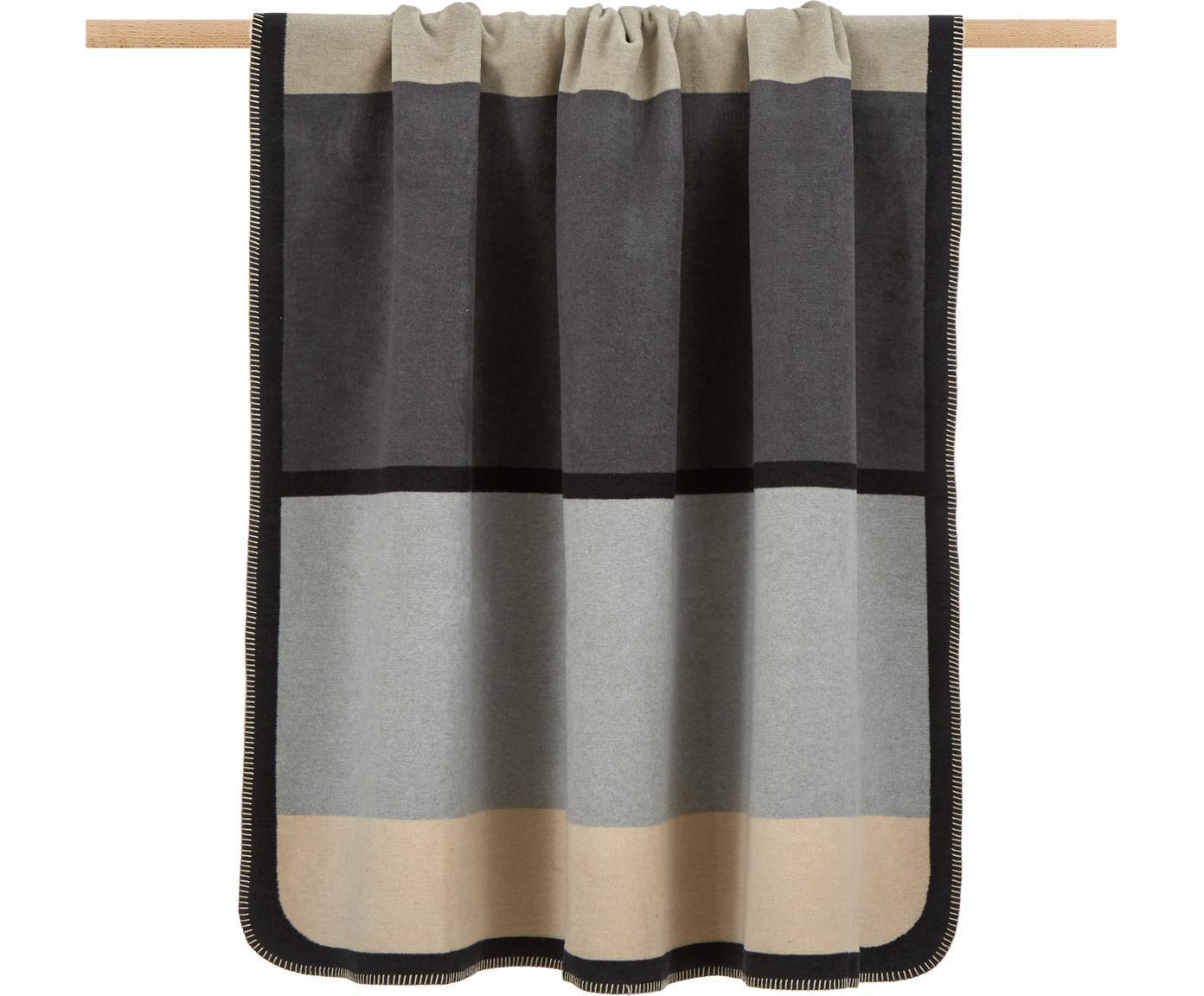 Manta doble cara Deux, 65%algodón, 35%poliacrílico, Gris, negro, beige, An 150 x L 200 cm