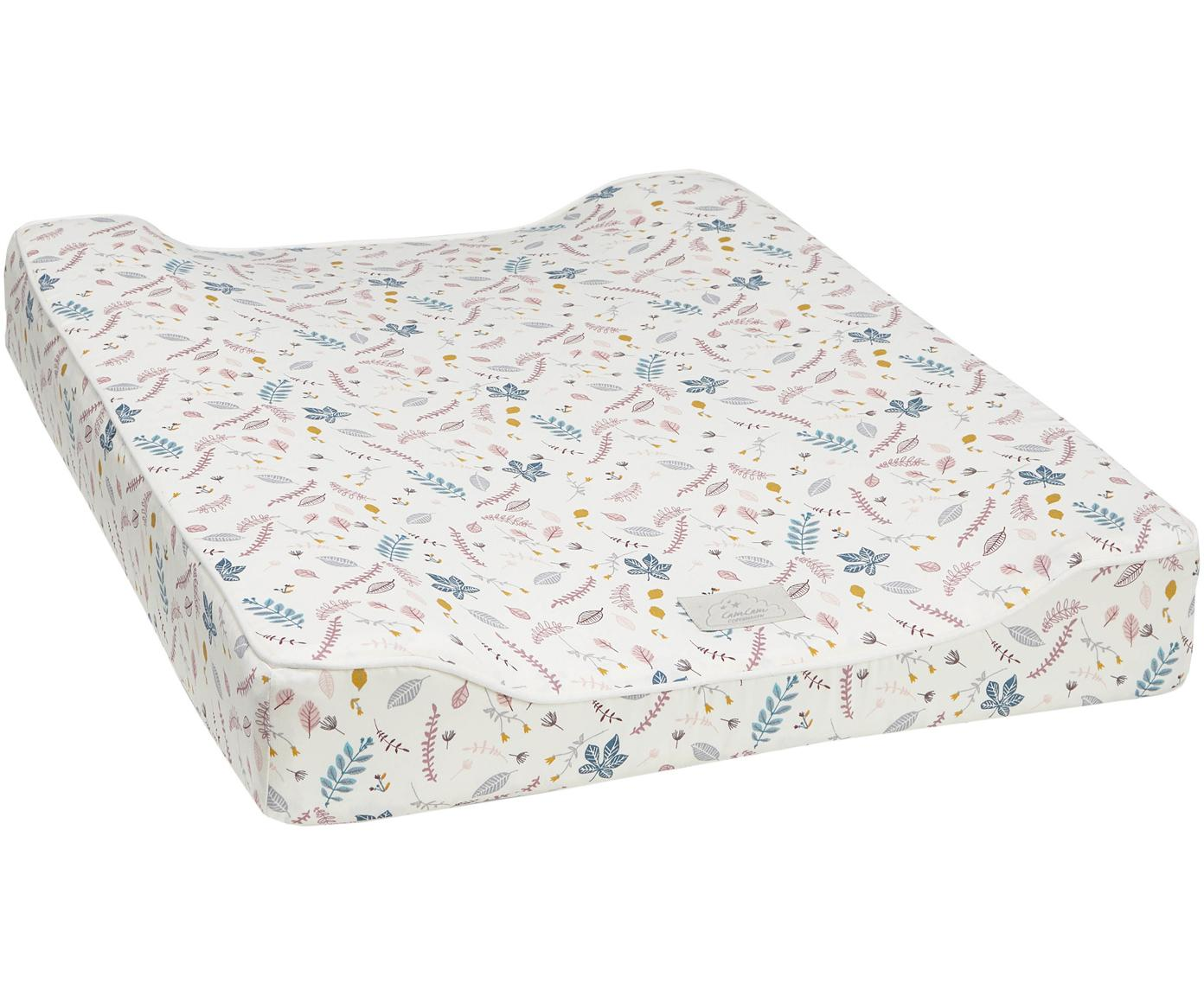 Colchón cambiador Pressed Leaves, Tapizado: algodón ecológico, certif, Crema, rosa, azul, gris, amarillo, An 50 x L 65 cm