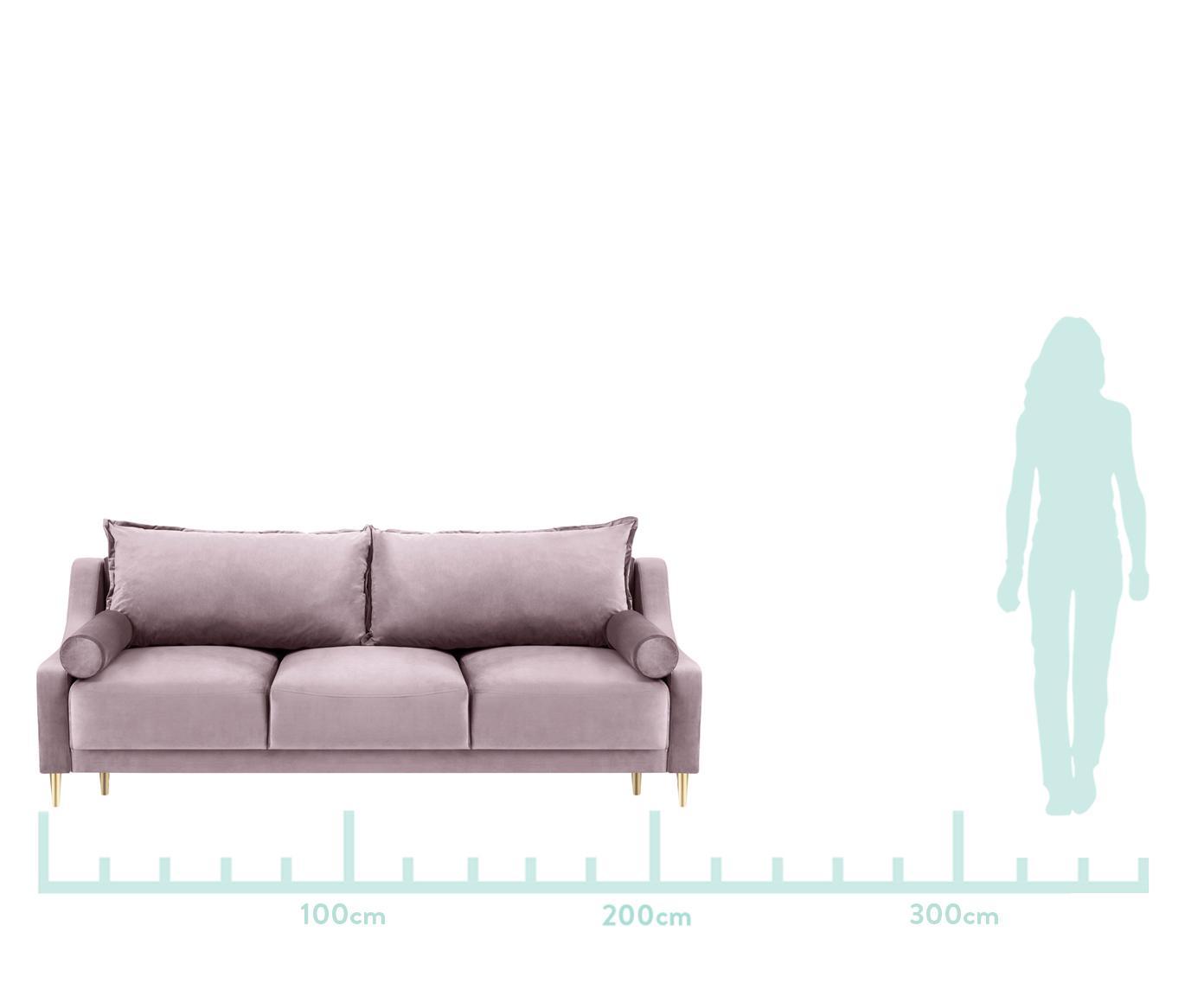 Sofa rozkładana z aksamitu Lea (3-osobowa), Tapicerka: aksamit poliestrowy, Nogi: metal malowany proszkowo, Lawendowy, S 215 x G 94 cm