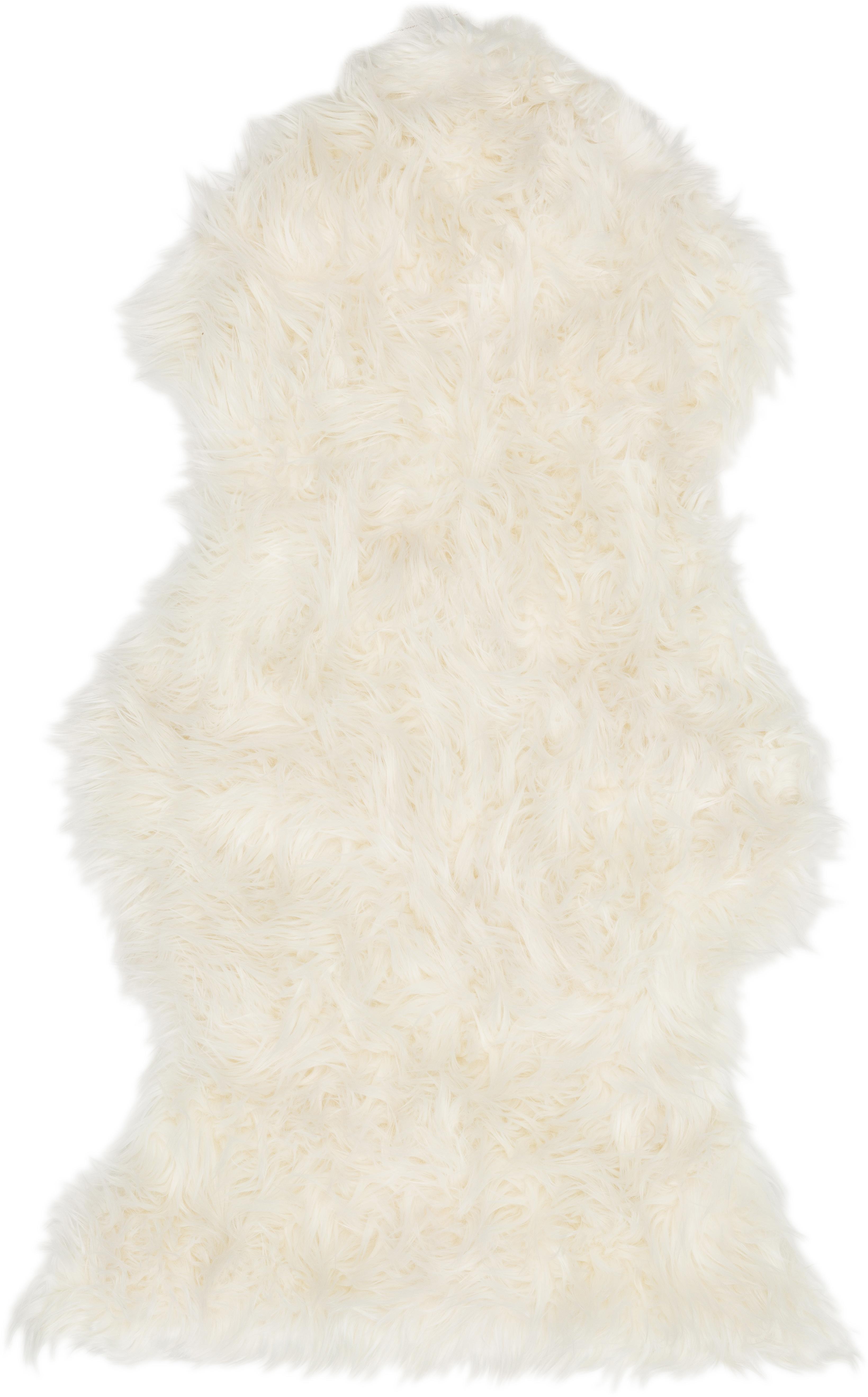 Kunstfell Vancouver, glatt, Vorderseite: 80%Acryl, 20%Polyester, Rückseite: Polyester, glatt, Weiß, 60 x 100 cm