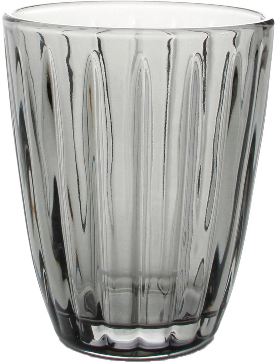 Waterglazen Zefir met reliëf, 4-delig, Glas, Grijs, Ø 8 x H 10 cm