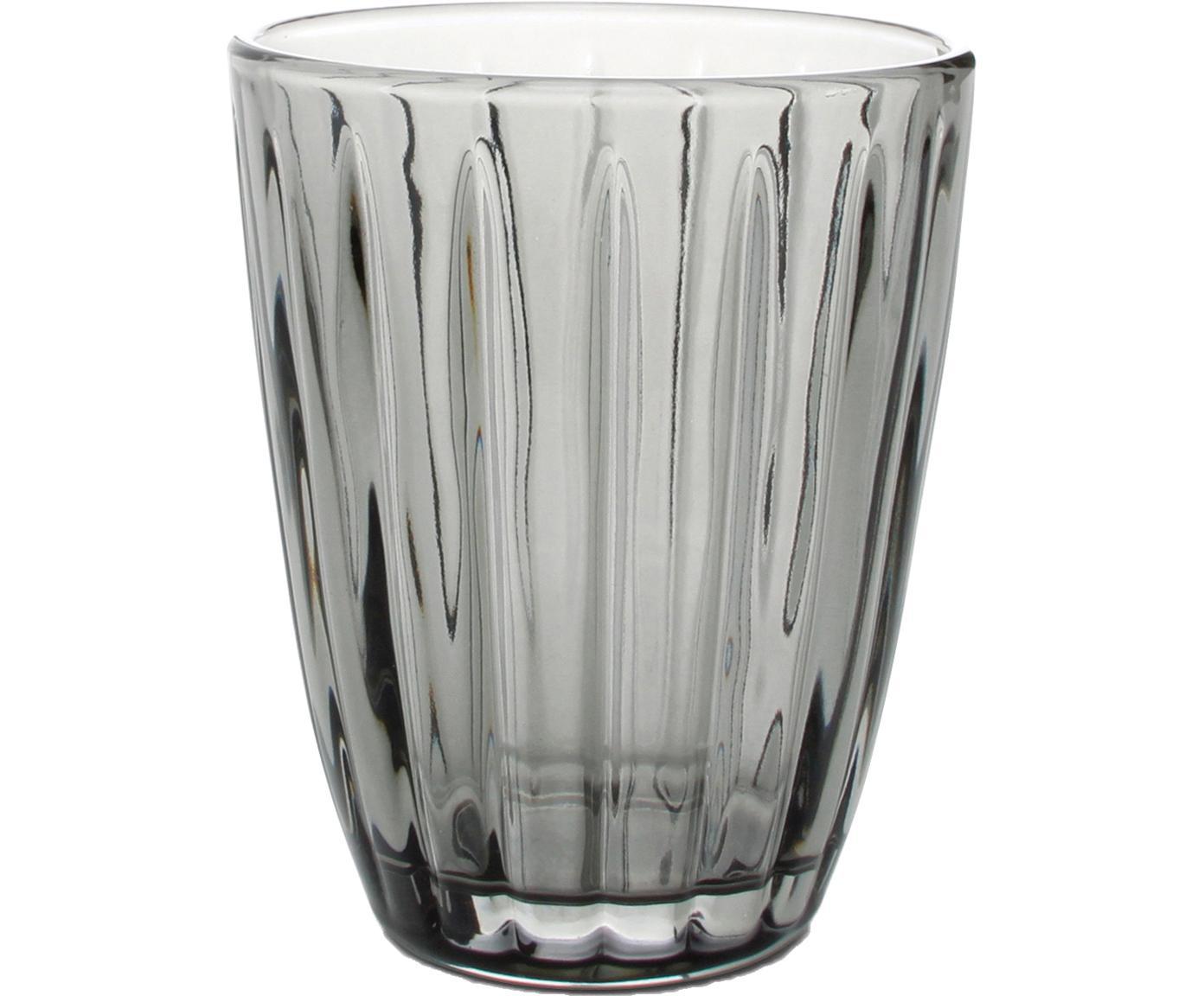 Wassergläser Zefir mit Relief, 4er-Set, Glas, Grau, Ø 8 x H 10 cm