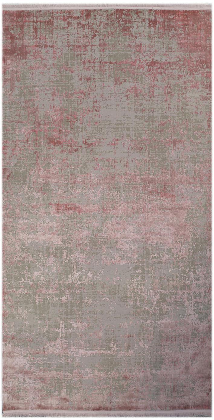 Glanzend vloerkleed Cordoba met franjes, vintage stijl, Bovenzijde: 70% acryl, 30% viscose, Onderzijde: katoen, Grijs, rozetinten, B 80 x L 150 cm (maat XS)