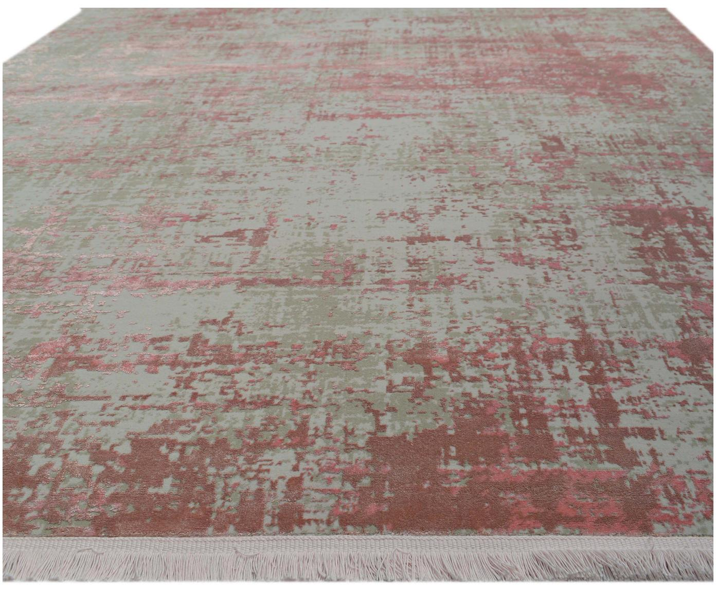 Dywan vintage z frędzlami Cordoba, Szary, odcienie różowego, S 130 x D 190 cm
