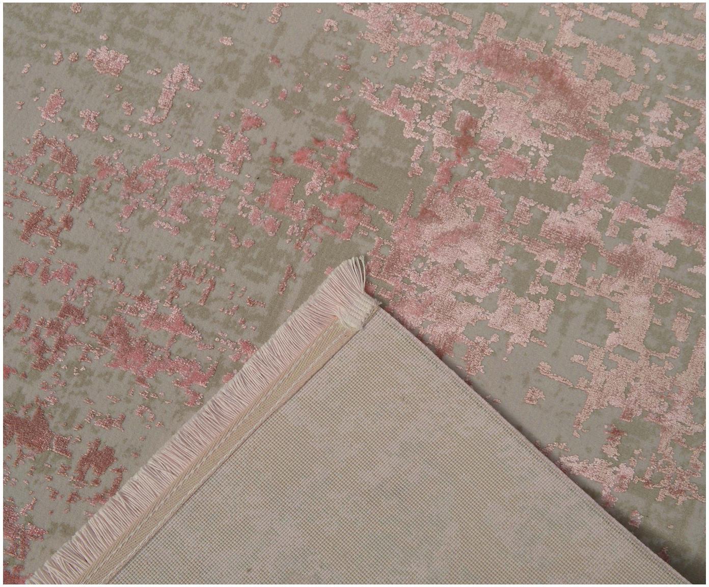 Třpytivý koberec střásněmi ve vintage stylu Cordoba, Šedá, odstíny růžové