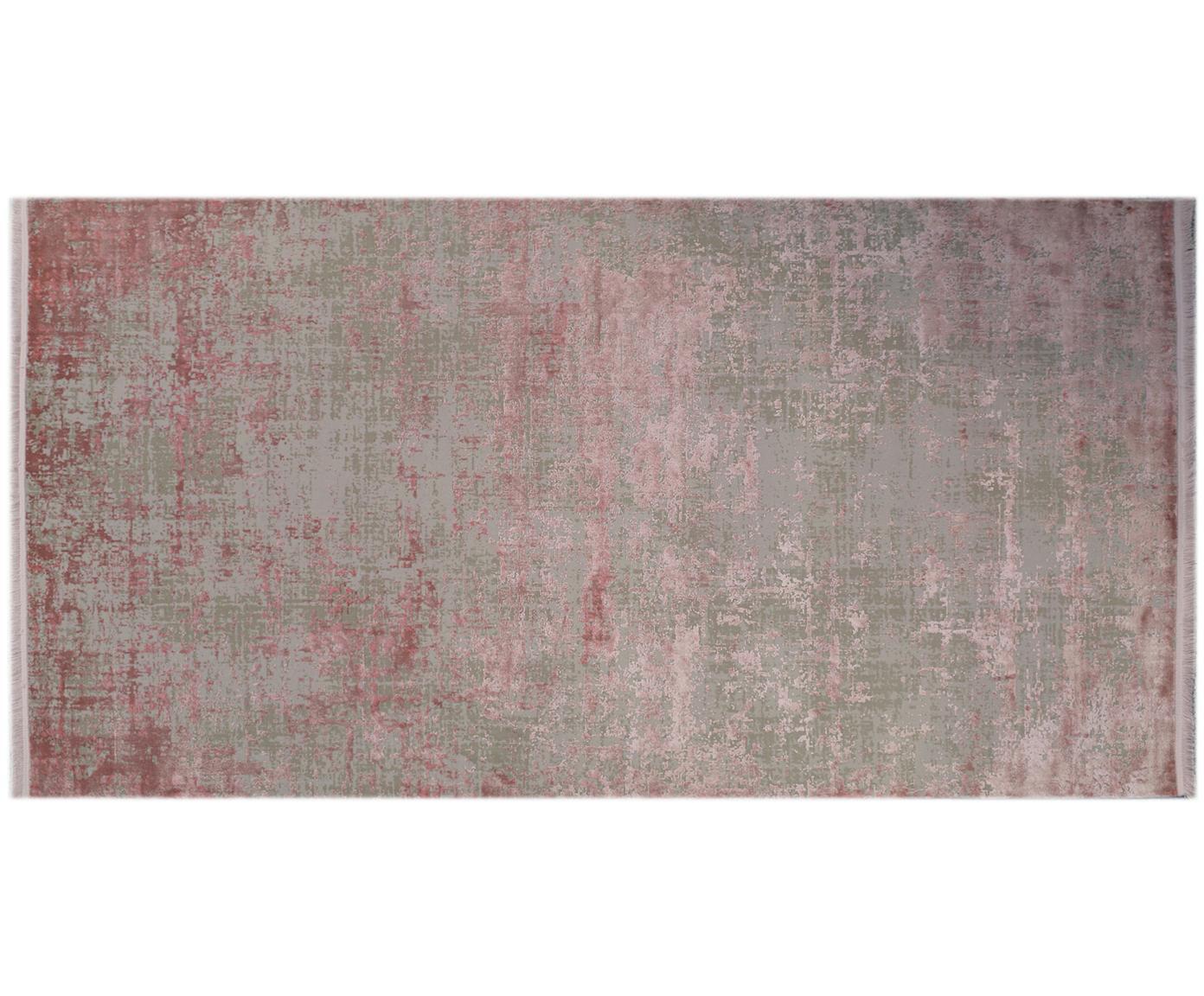 Schimmernder Teppich Cordoba mit Fransen, Vintage Style, Flor: 70% Acryl, 30% Viskose, Grau, Rosatöne, B 80 x L 150 cm (Grösse XS)
